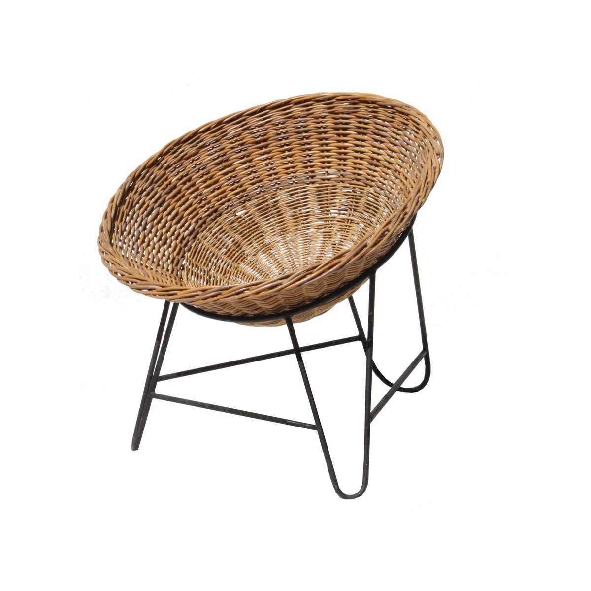 mid-century french rattan basket chair, 1950s for sale at pamono