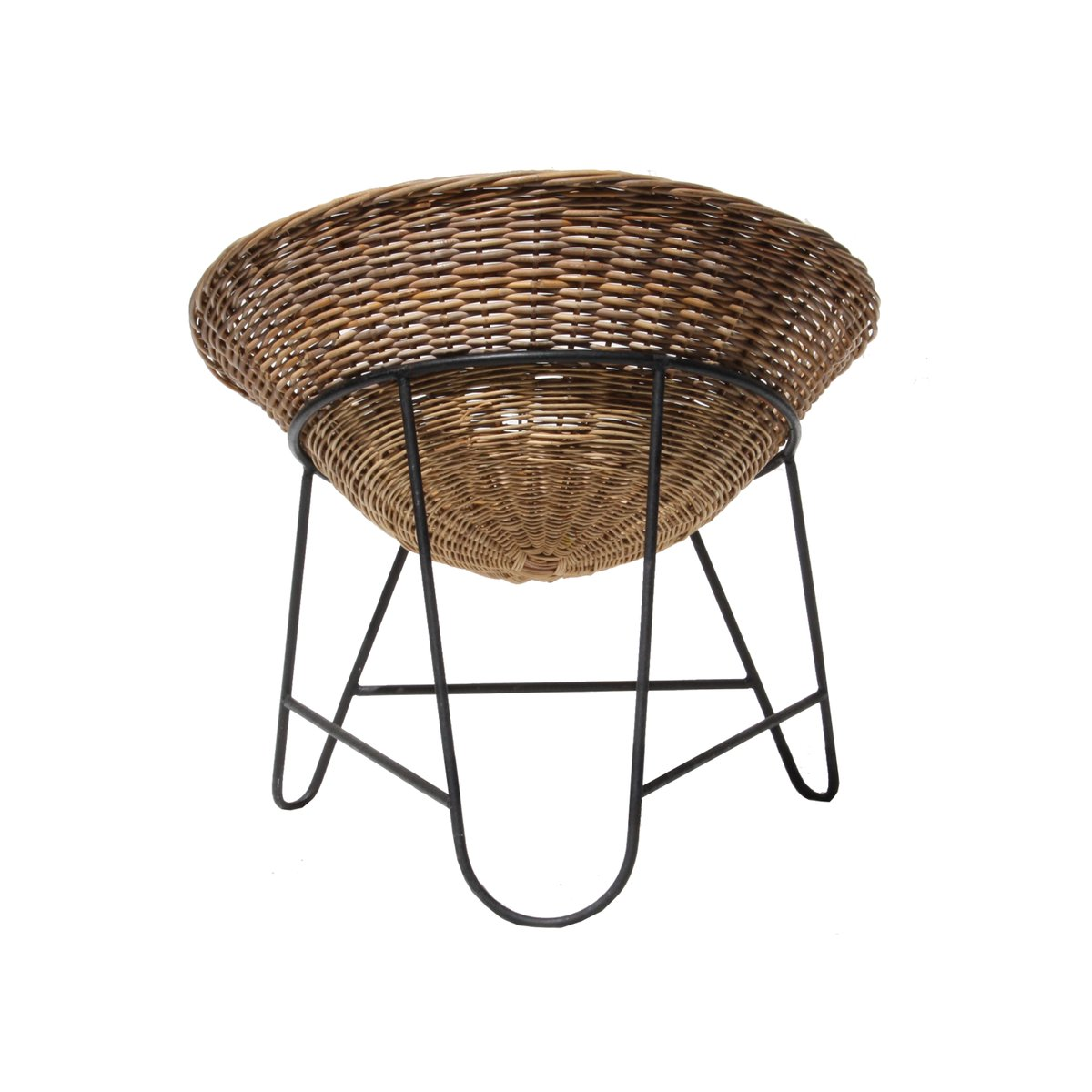 Mid Century French Rattan Basket Chair 1950s for sale at