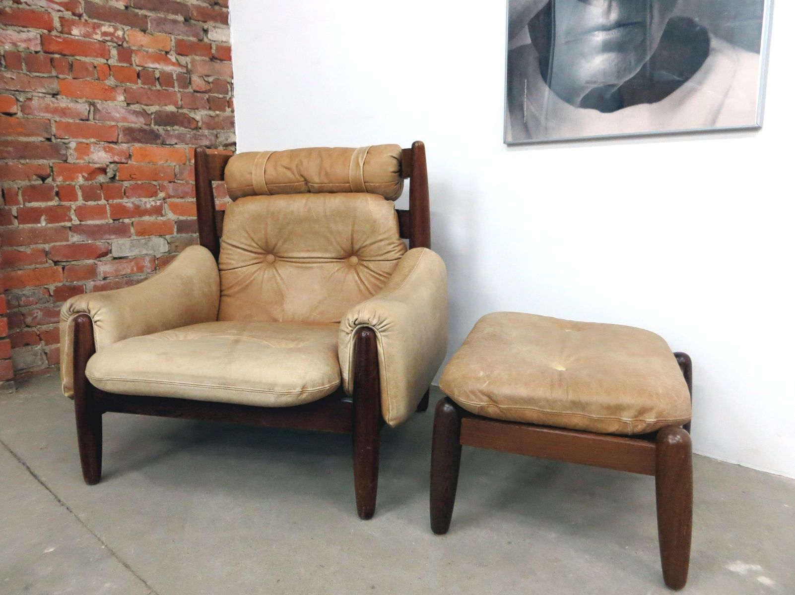 brazilian leather lounge chair and ottoman s for sale at pamono - brazilian leather lounge chair and ottoman s