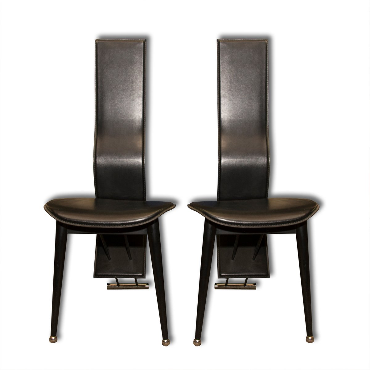 Vintage Leather Dining Chairs italian vintage high back leather dining chairs, 1980s, set of 2
