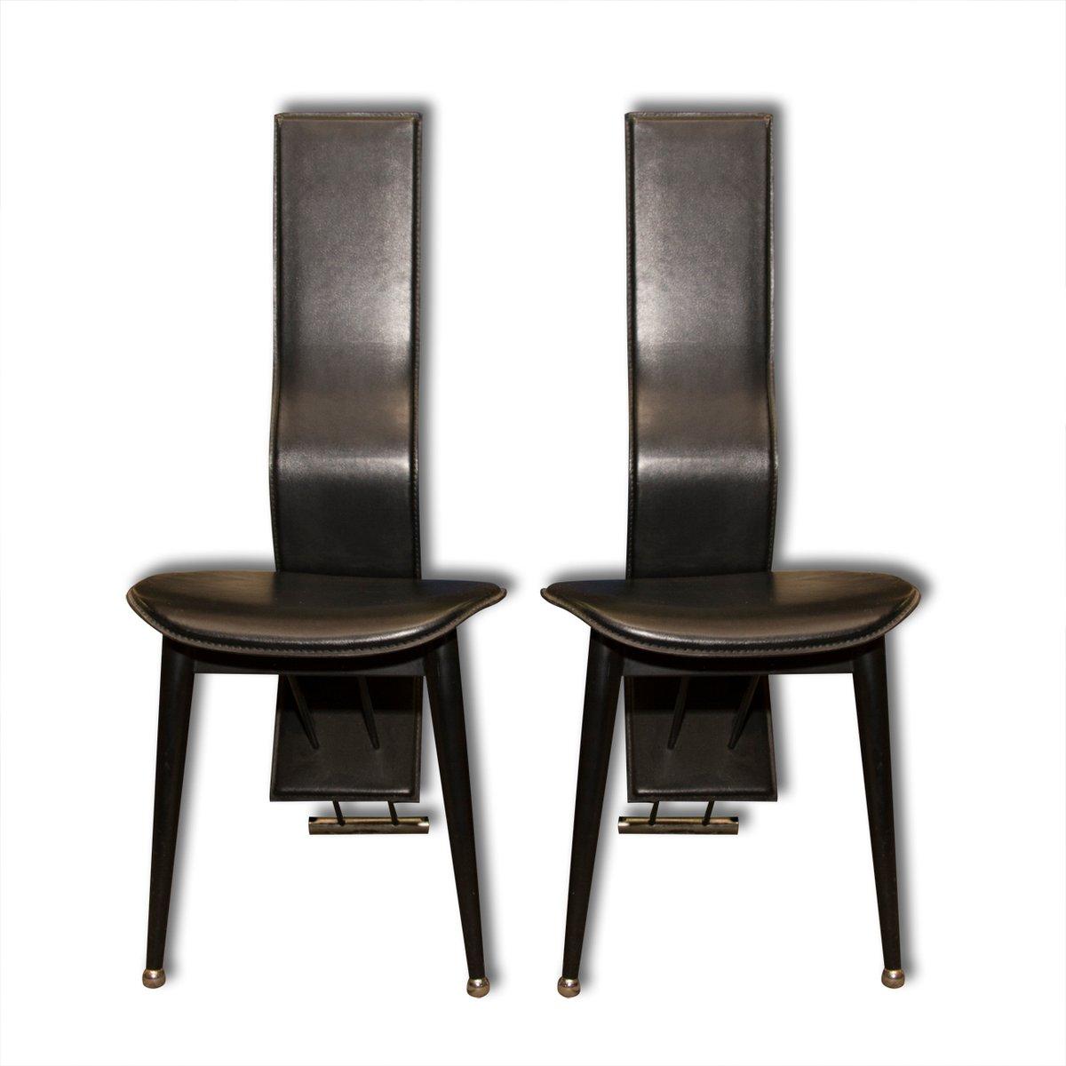 Sedie da pranzo vintage in pelle nera italia anni 39 80 for Sedie design italia