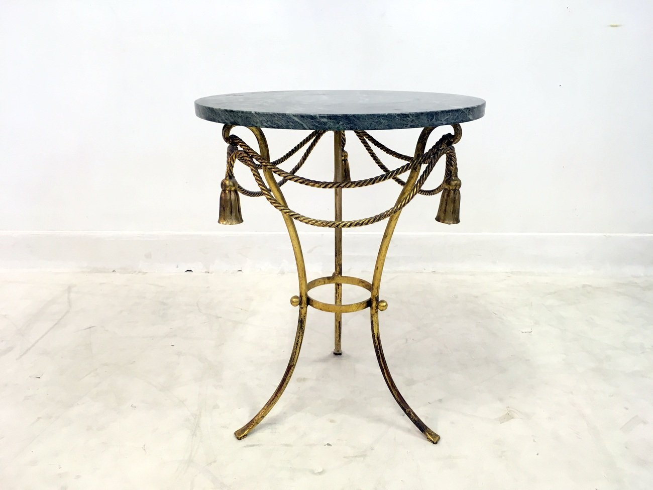 Italian Gilt Tassel And Rope Table With Marble Top, 1960s