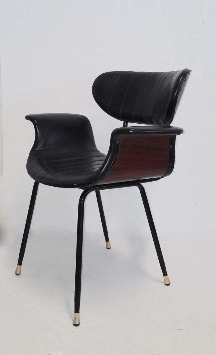 mid century rosewood and leather side chair 1950s for sale at pamono. Black Bedroom Furniture Sets. Home Design Ideas