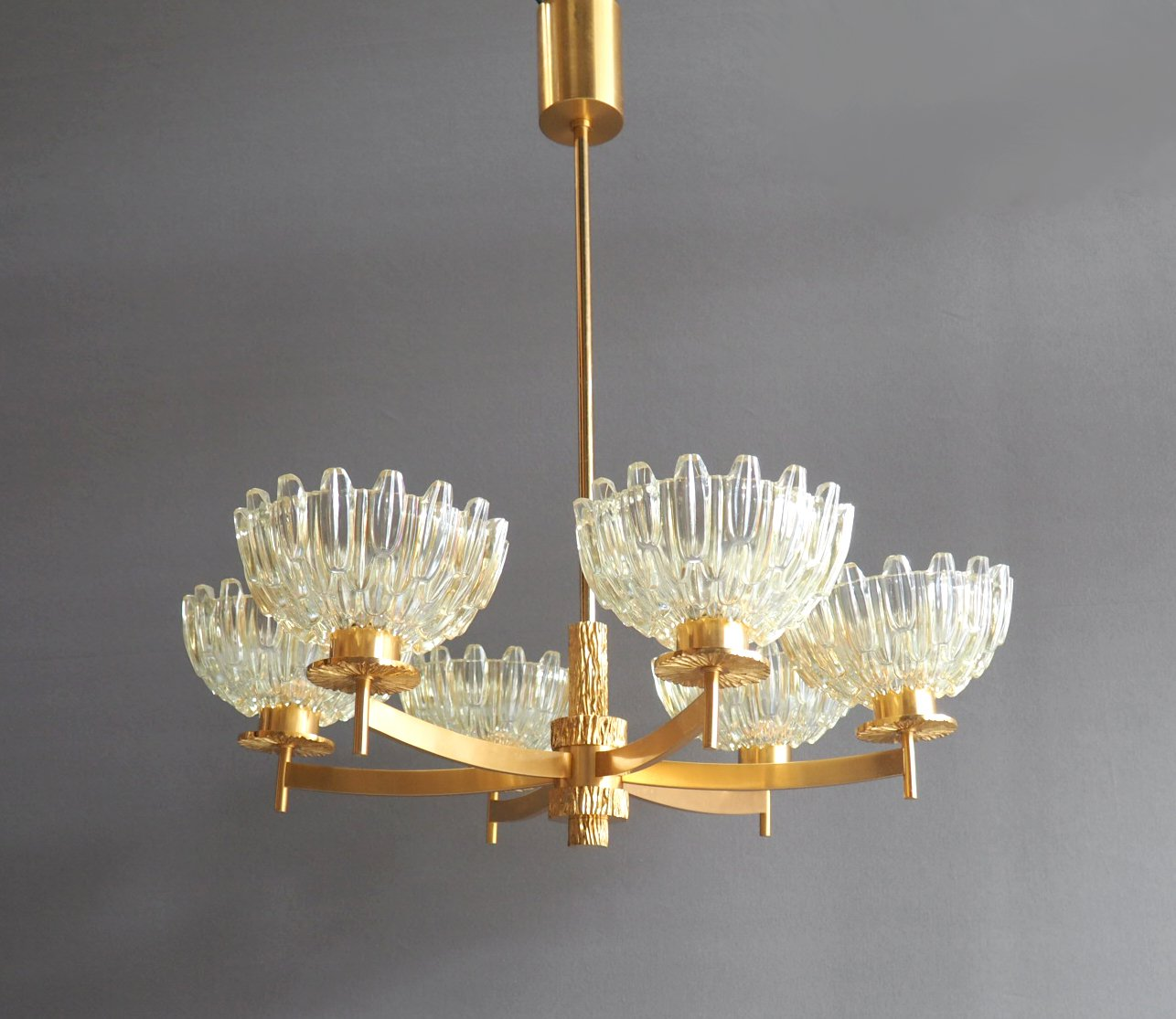Mid century six armed gold plated chandelier for sale at pamono mid century six armed gold plated chandelier aloadofball Choice Image