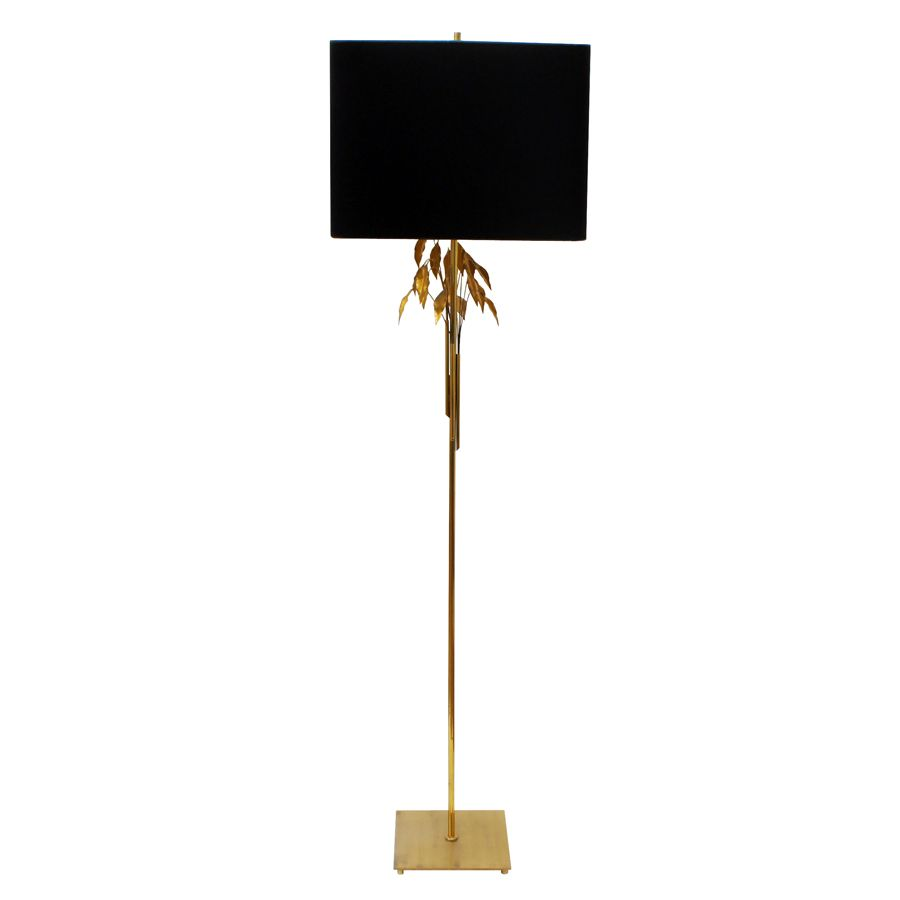gold leaves floor lamp from maison charles 1970s