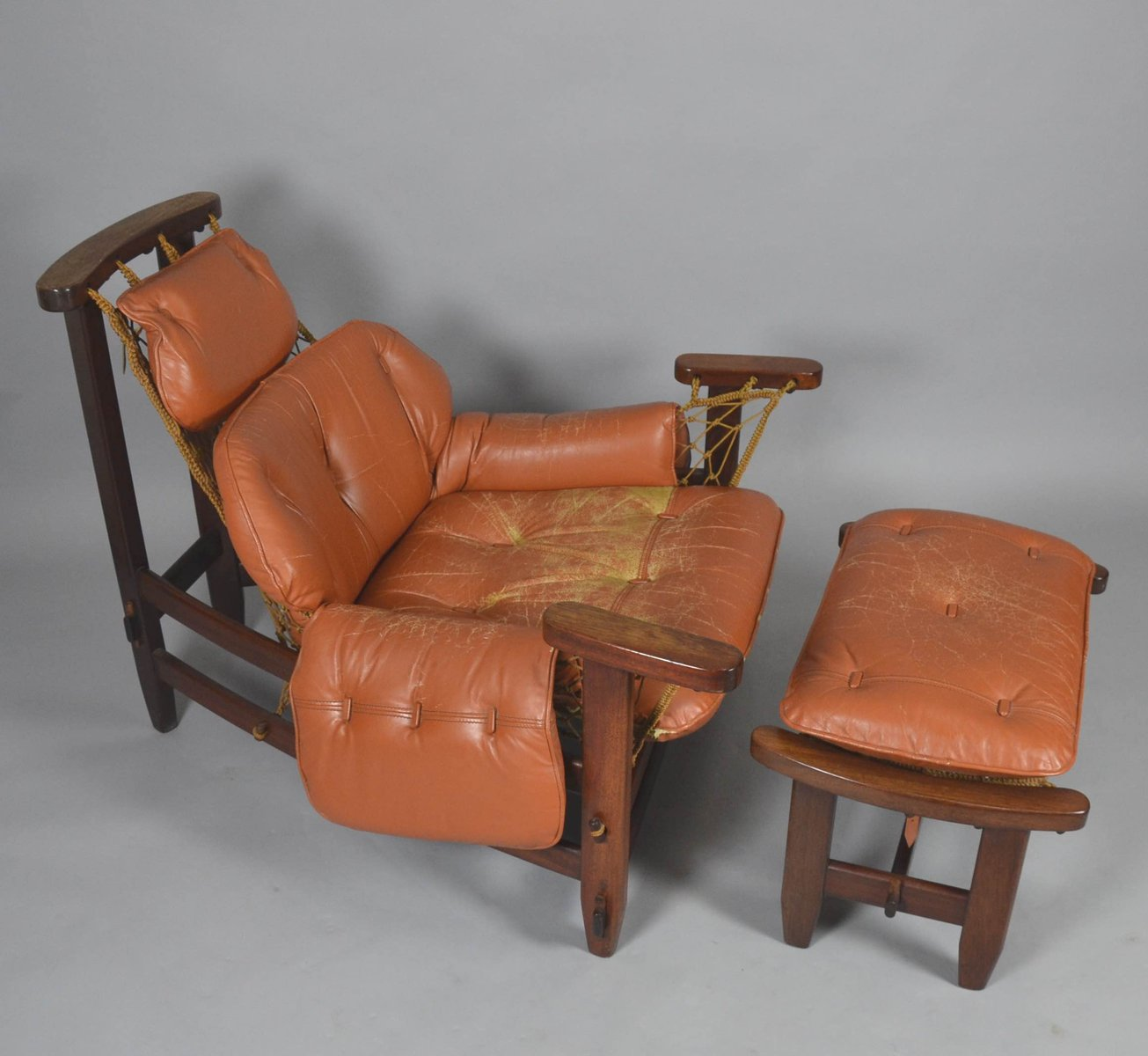 Wood Captain S Chair ~ Vintage captain s chair with ottoman by jean gillon for