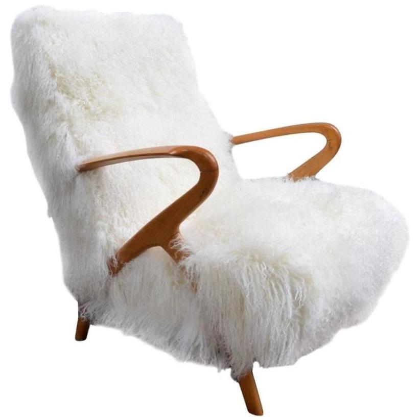 Italian Sheepskin Armchair, 1960s