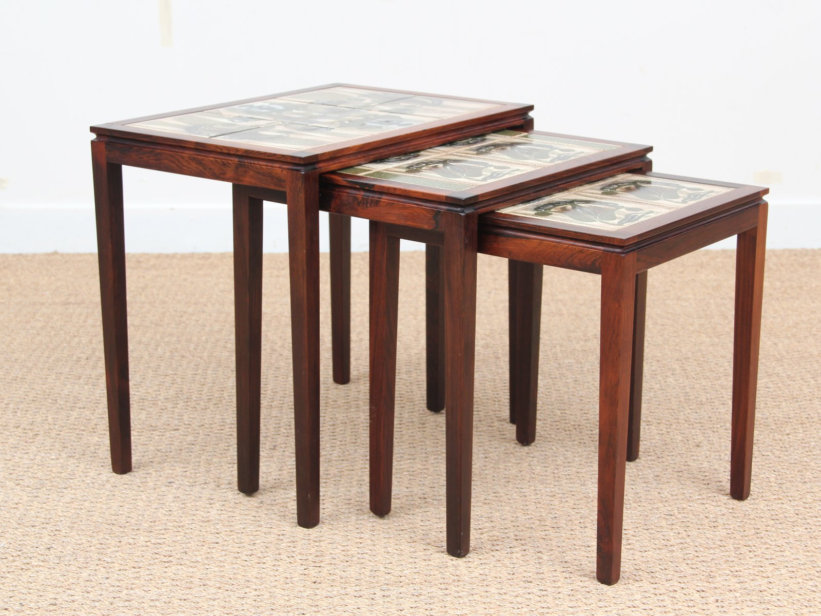 Scandinavian Rio Rosewood Nesting Tables with Ceramic Tiles 1950s