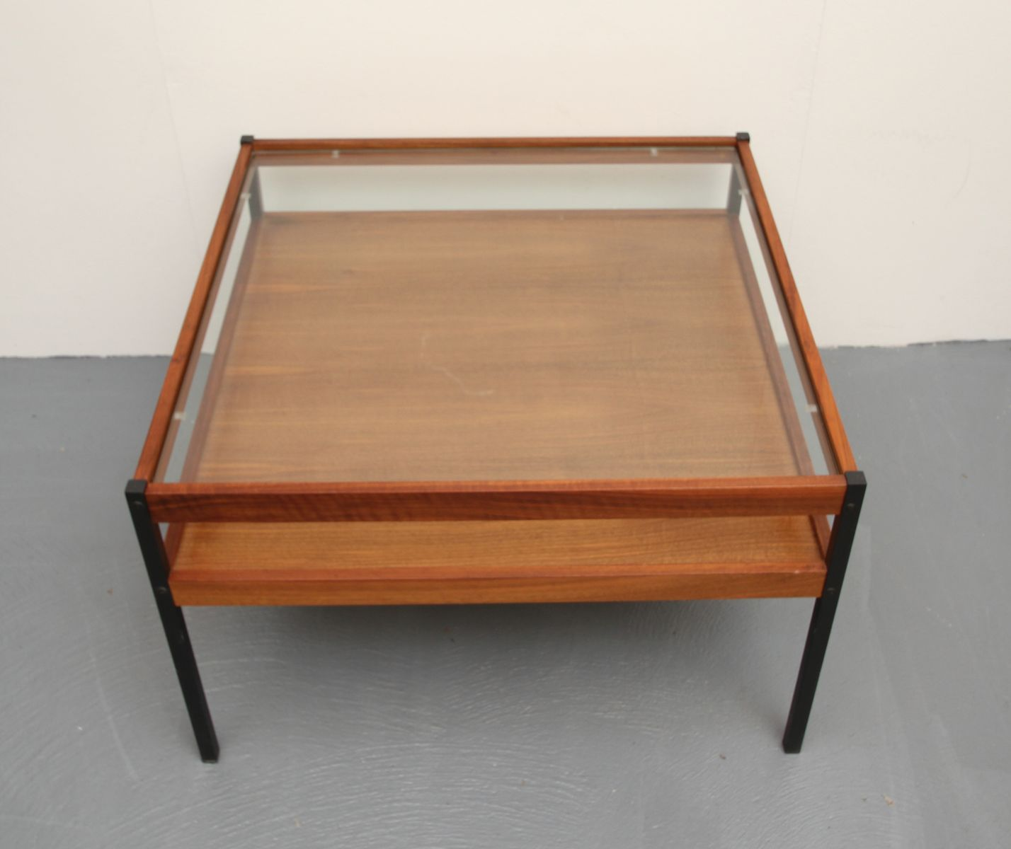 Walnut Veneer Glass Coffee Table 1960s For Sale At Pamono