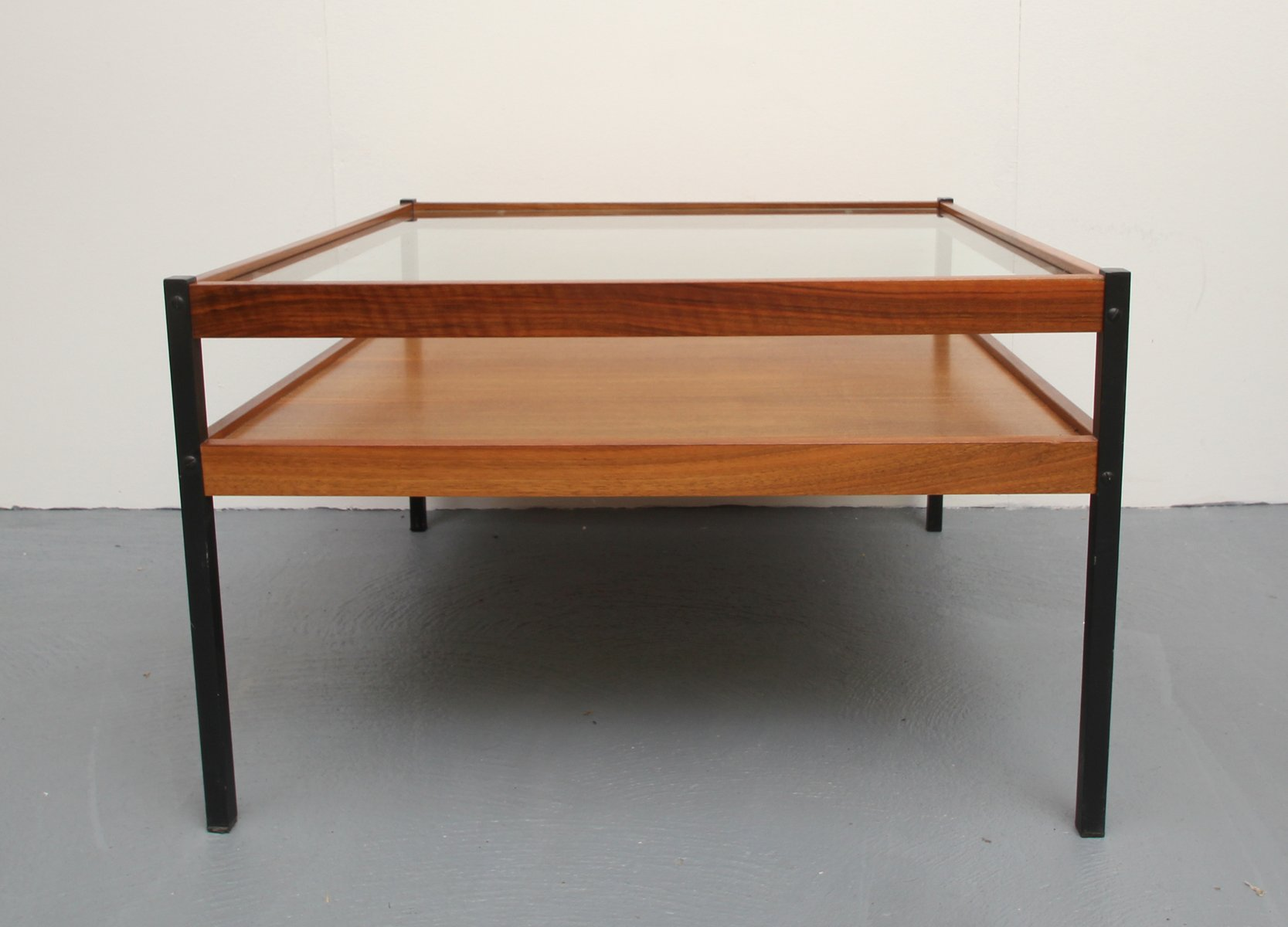 Walnut Veneer & Glass Coffee Table 1960s for sale at Pamono