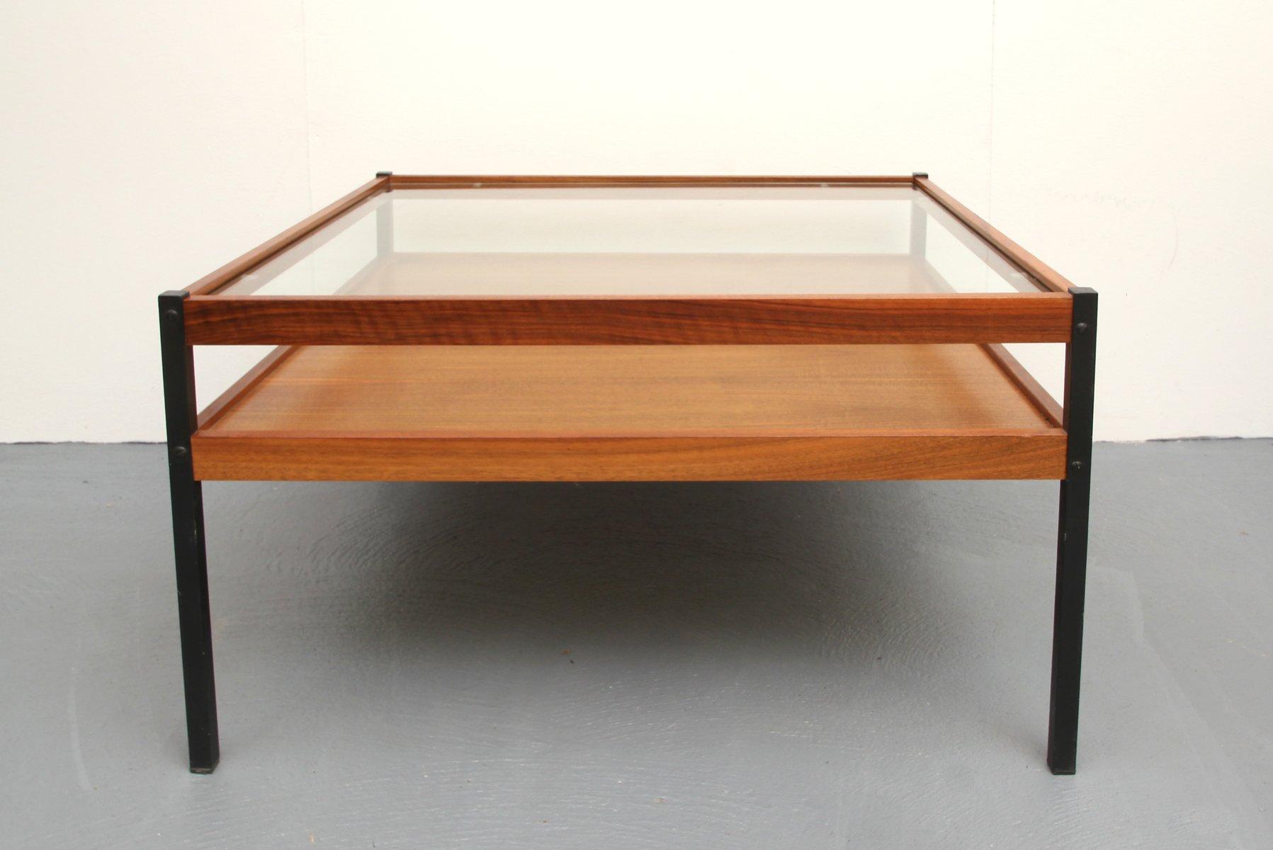 Walnut Veneer Glass Coffee Table 1960s For Sale At Pamono
