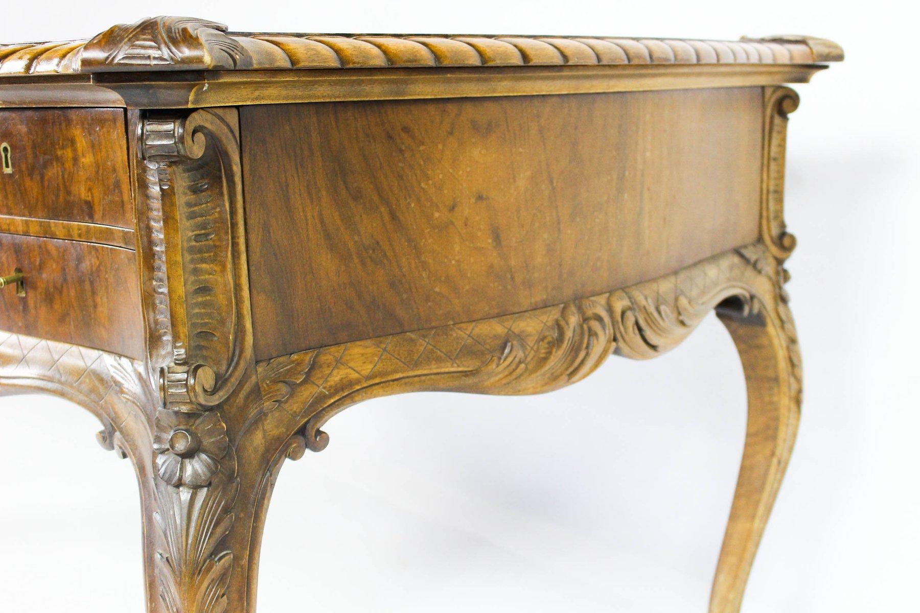 Schreibtischplatte holz  Vintage Schreibtisch aus Holz mit Beidseitigen Schubladen bei ...