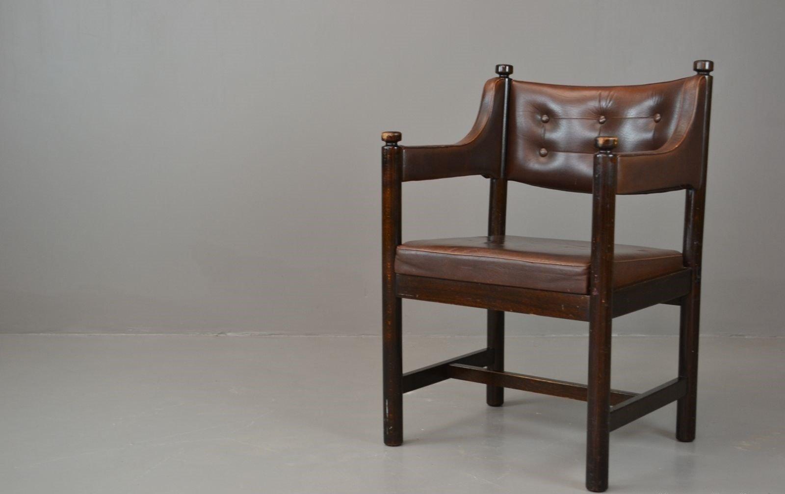 Chaise De Bureau Vintage En Cuir Marron De Gemla Su De En Vente Sur Pamono