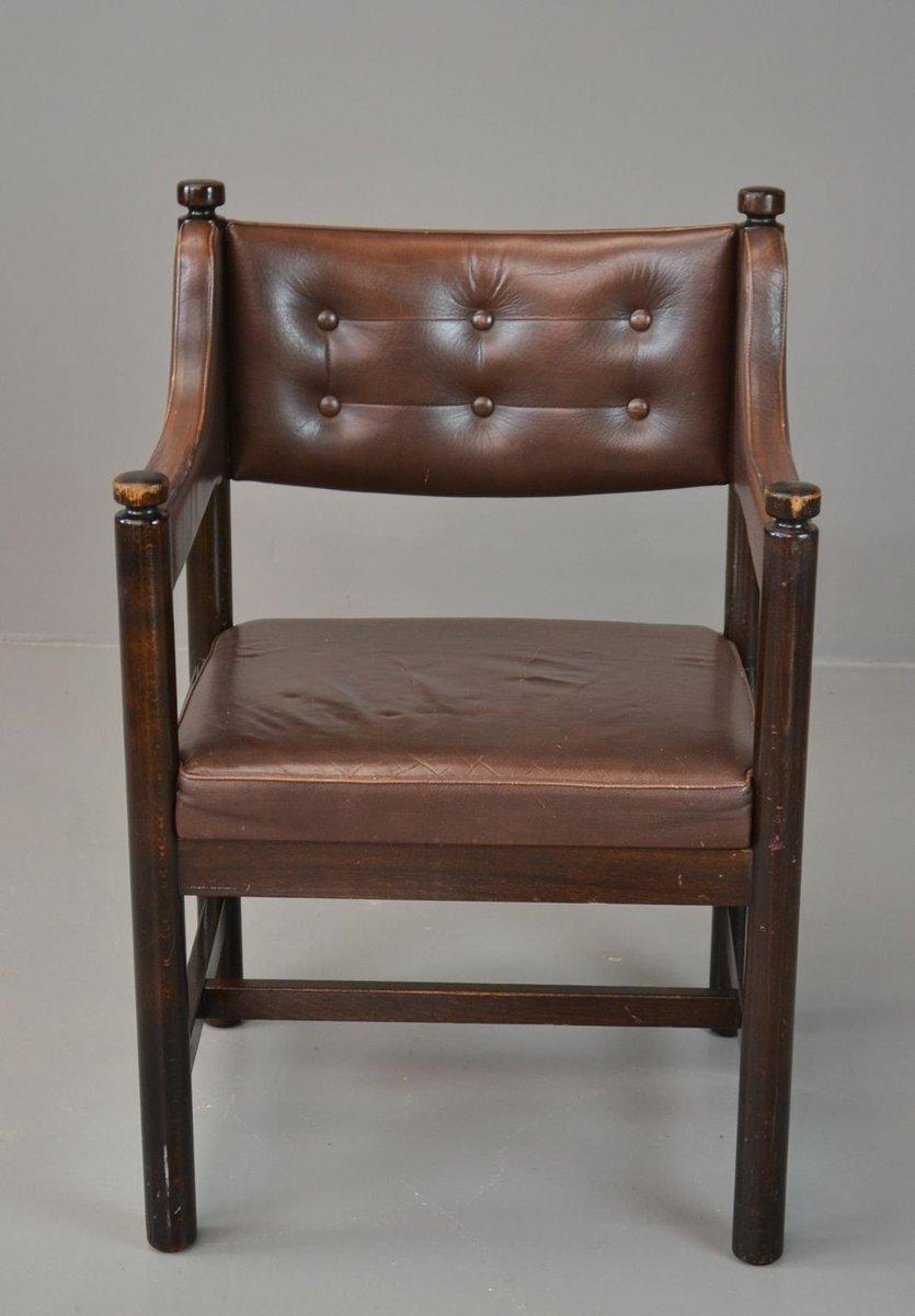 brauner schwedischer vintage ledersessel von gemla bei. Black Bedroom Furniture Sets. Home Design Ideas