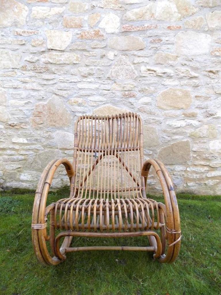 wicker rocking chair by audoux minet 1960s - Wicker Rocking Chair