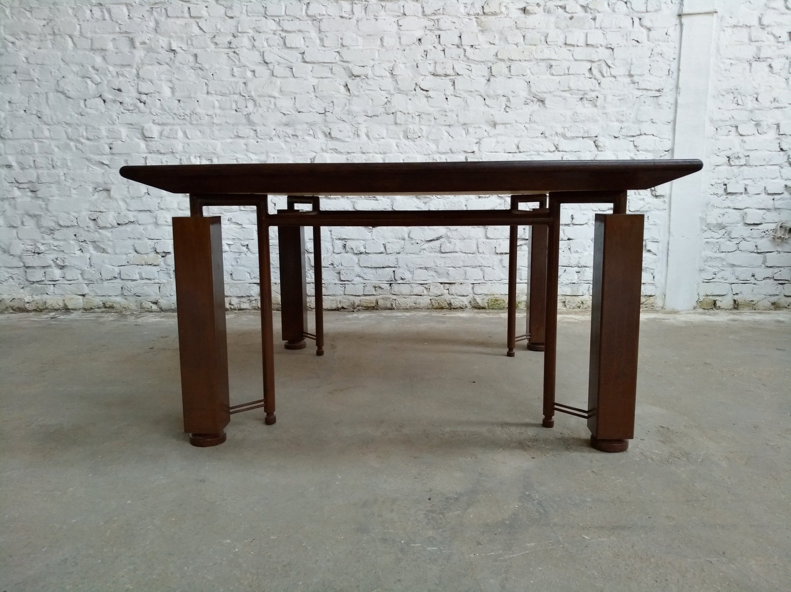 Grande table vintage industrielle postmoderne en wenge et acier rouill en vente sur pamono for Grande table industrielle