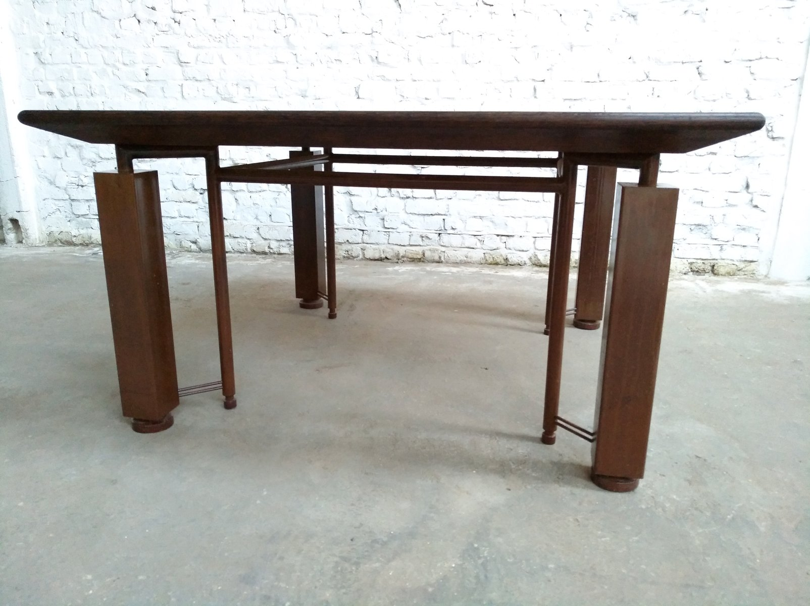 Vintage Industrial Postmodern Wenge and Rusted Steel Table