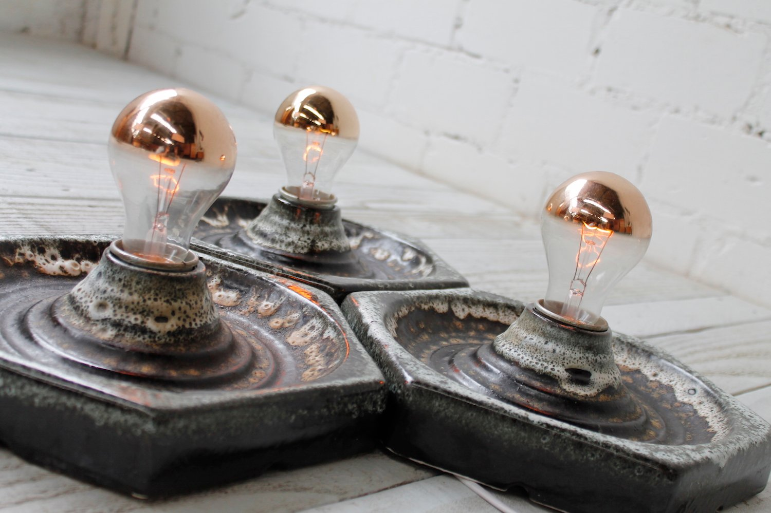 Ceramic Wall Lights, 1970s, Set of 3 for sale at Pamono