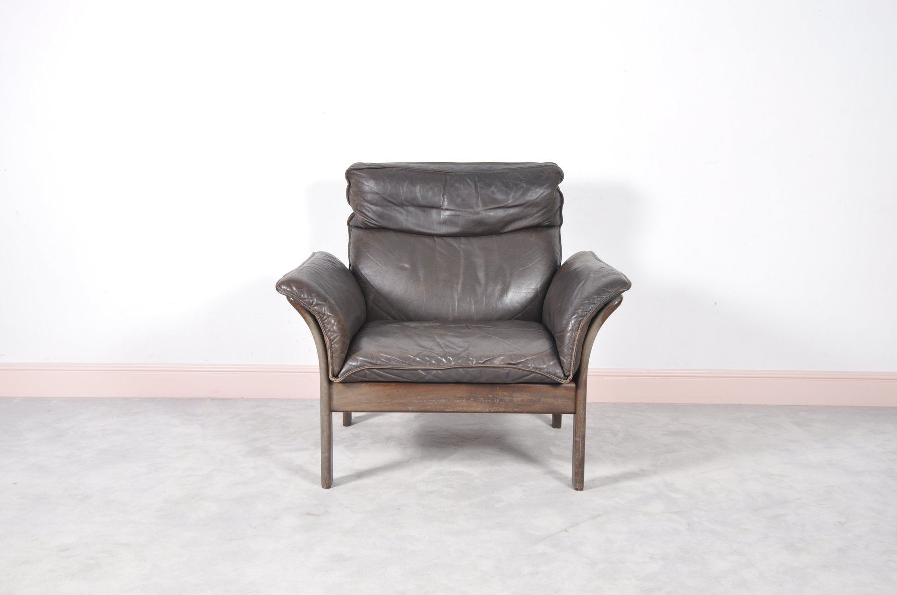 Vintage Norwegian Rosewood & Leather Armchair for sale at Pamono