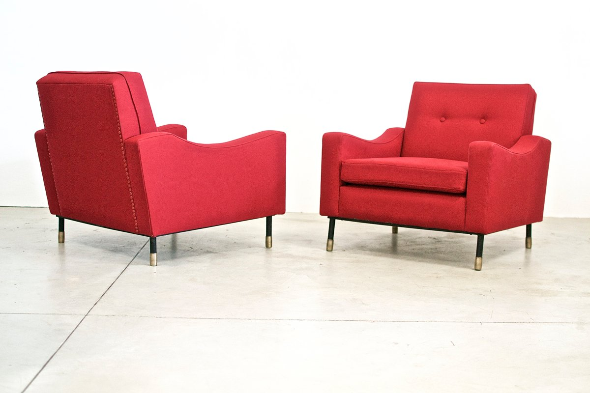 Vintage italian red armchairs set of 2 for sale at pamono for 2 armchairs for sale