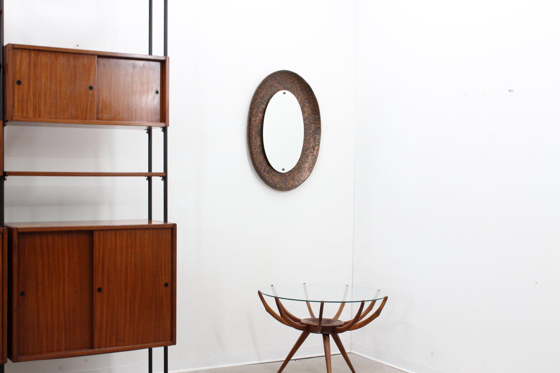 Specchio vintage ovale in bronzo battuto di angelo - Specchio ovale vintage ...