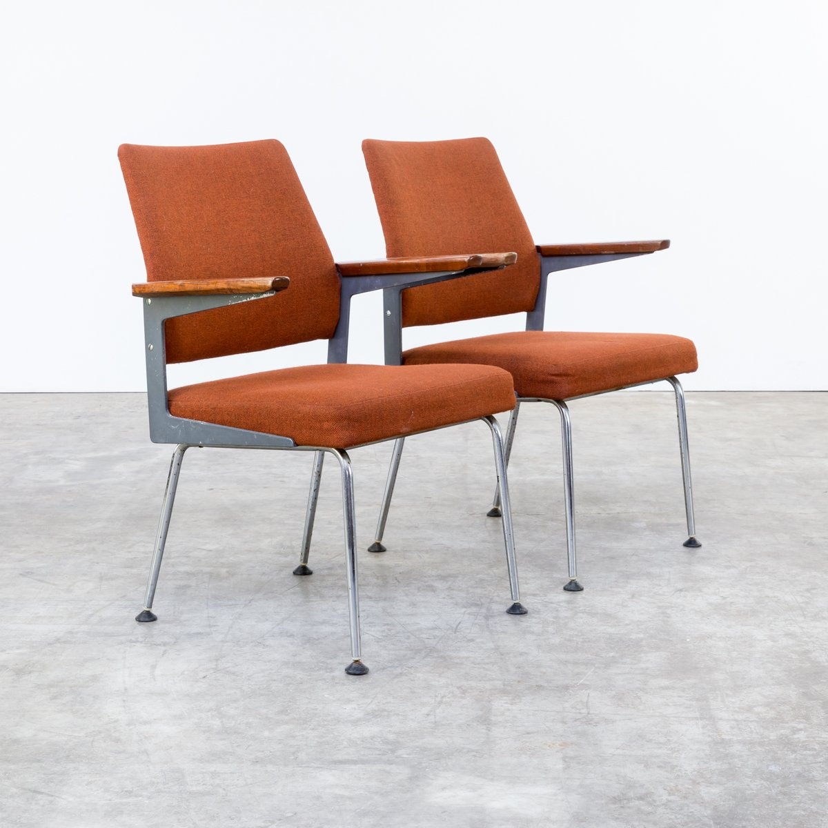 Mid Century Office Chairs In Metal Teak And Chrome Set