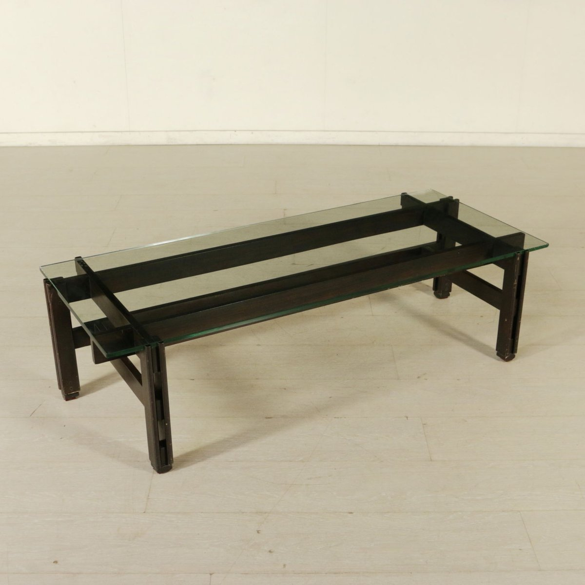 Vintage Italian Rosewood And Glass Coffee Table By Ico Parisi 1960s For Sale At Pamono