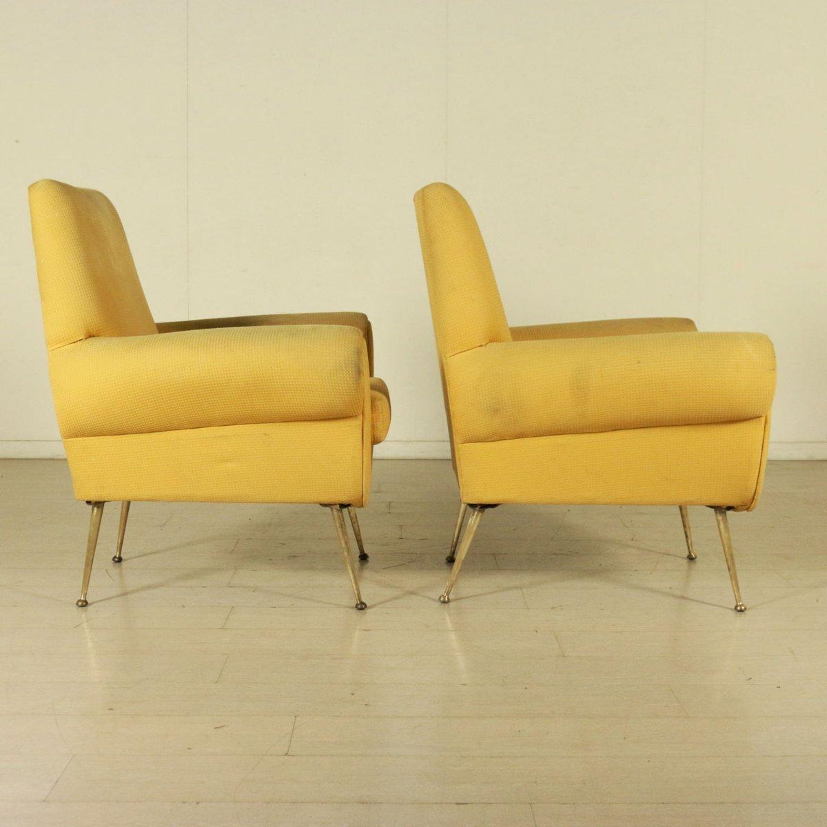 Italian Vintage Armchairs With Foam Padding Fabric