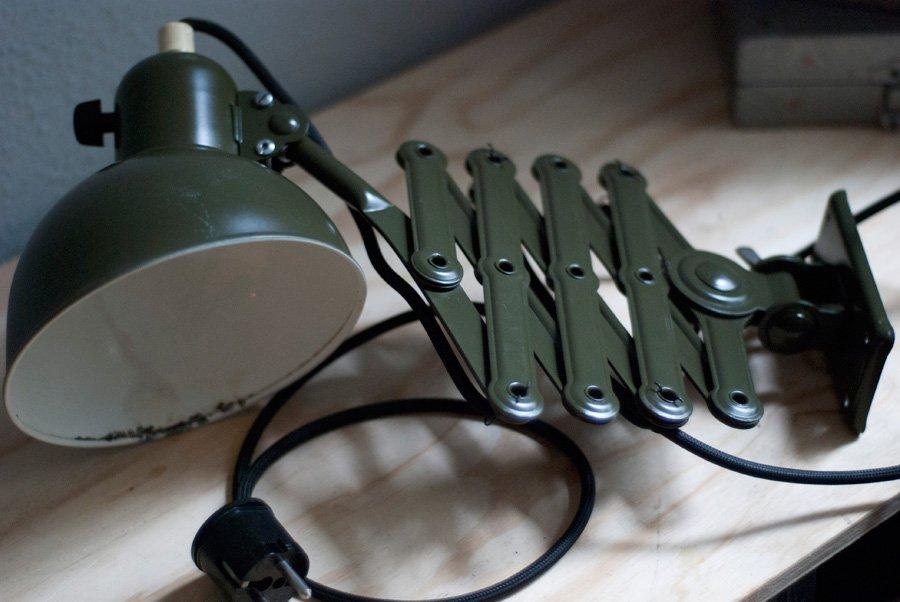 Vintage Dark Green Scissor Lamp By Christian Dell For