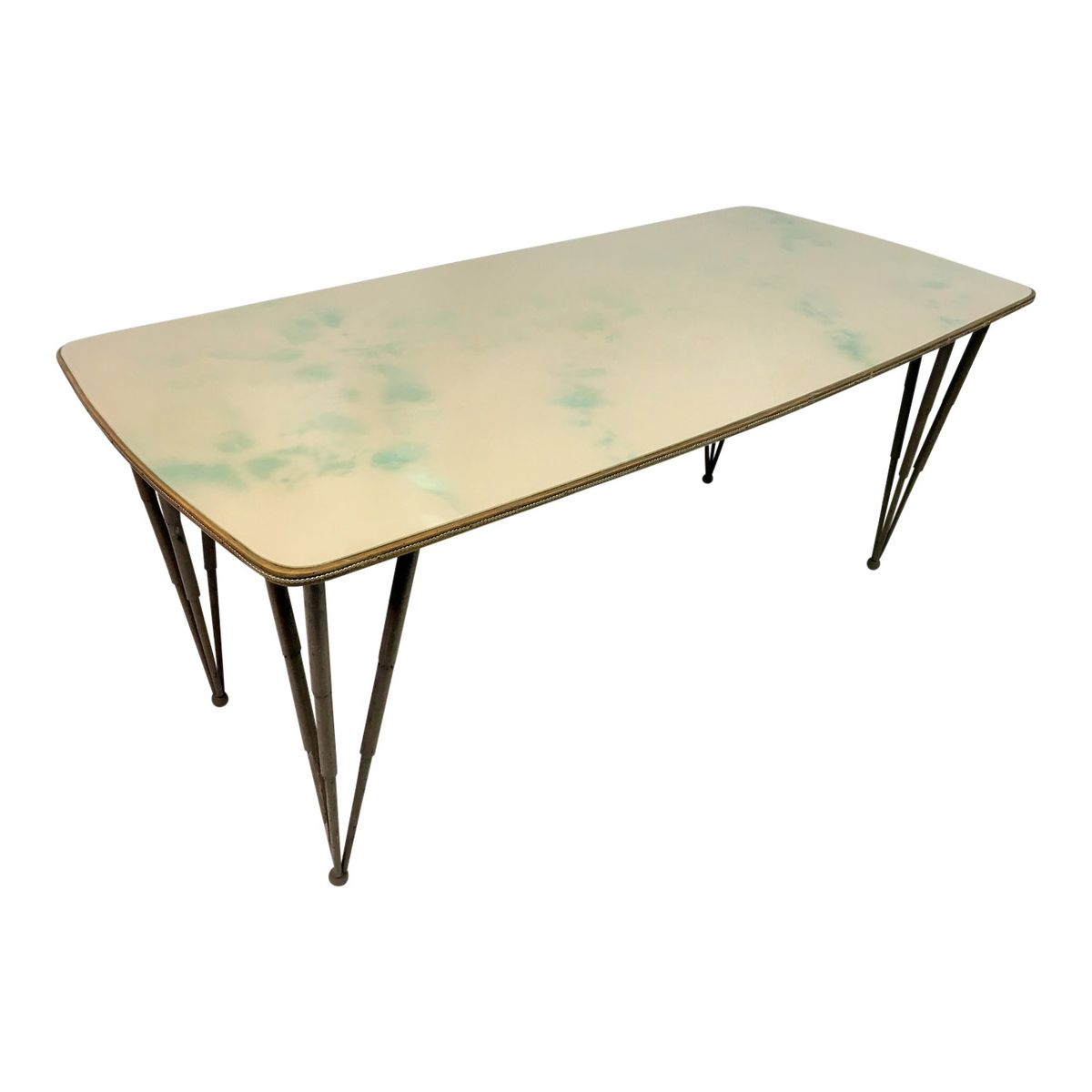 Italian Glass Topped Dining Table With Metal Legs 1950s For Sale At Pamono