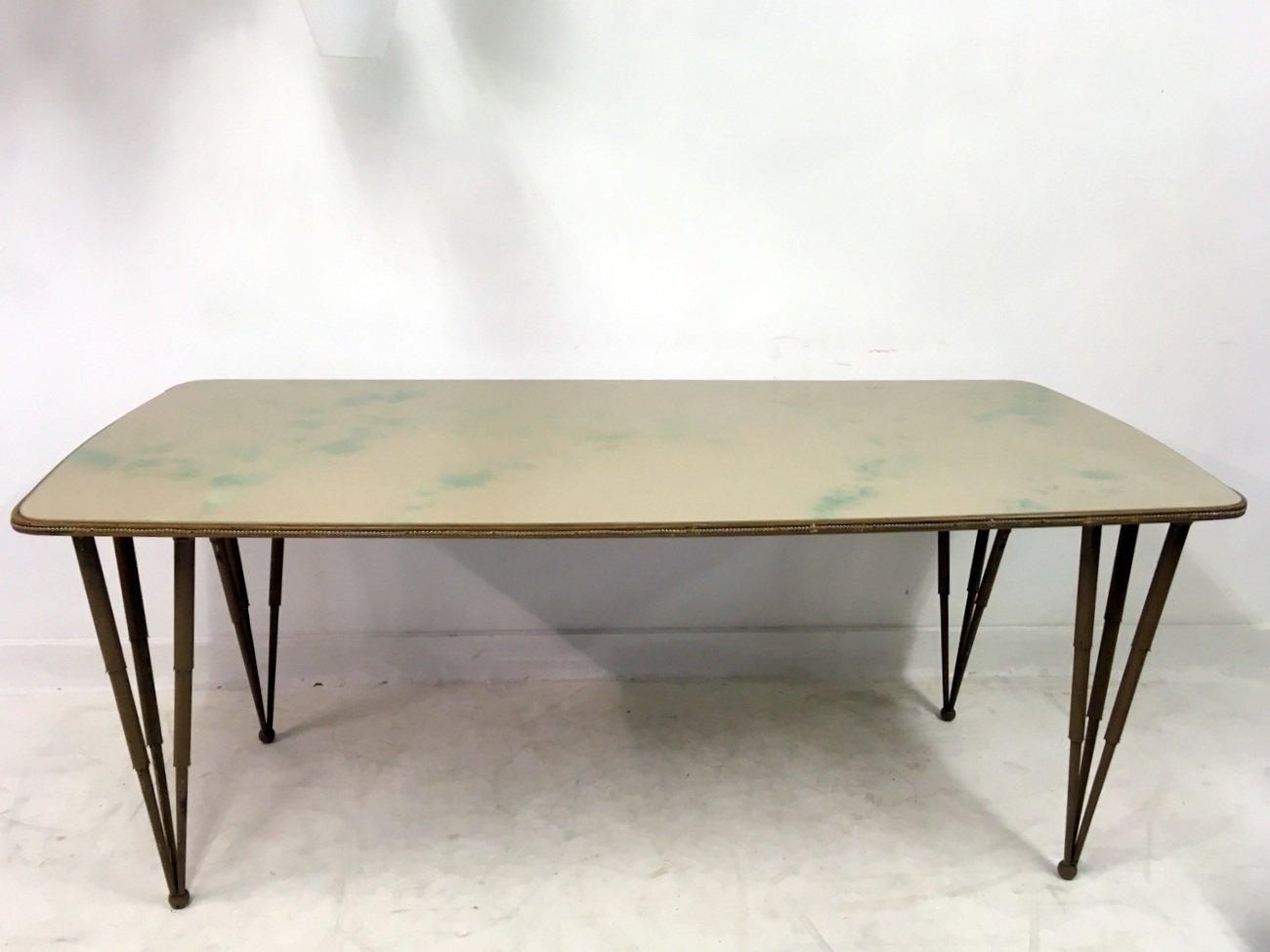 Italian glass topped dining table with metal legs 1950s for Dining table with metal legs