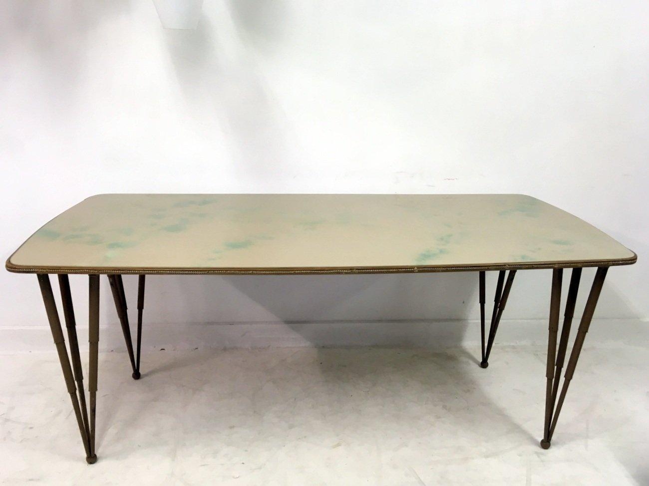 italienischer esstisch mit glasplatte metallbeinen. Black Bedroom Furniture Sets. Home Design Ideas
