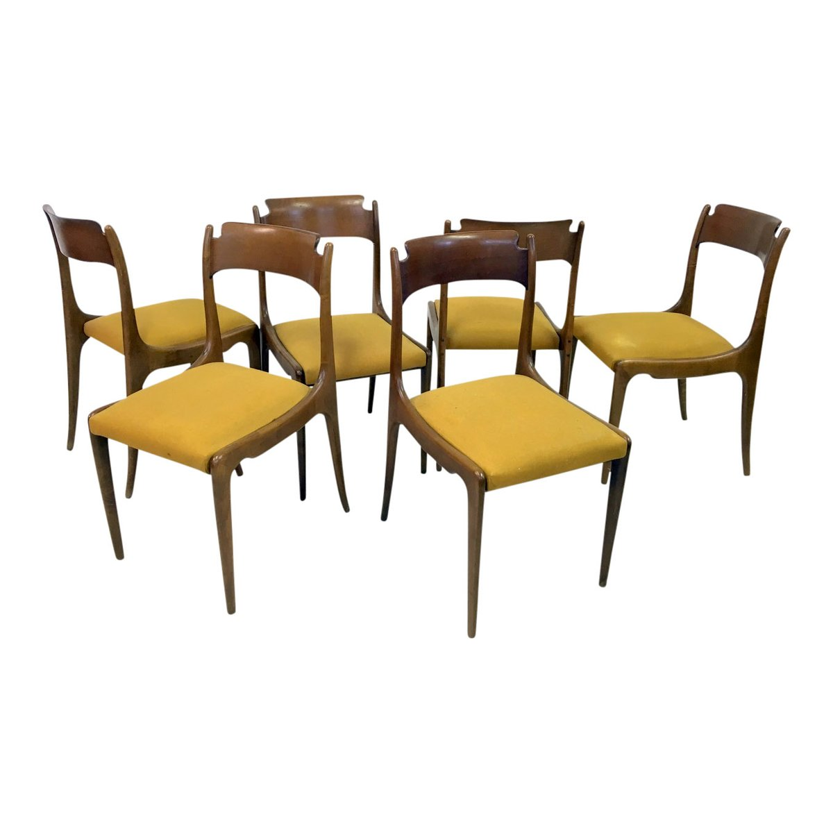 Mid century italian dining chairs 1950s set of 6 for for Furniture 1950