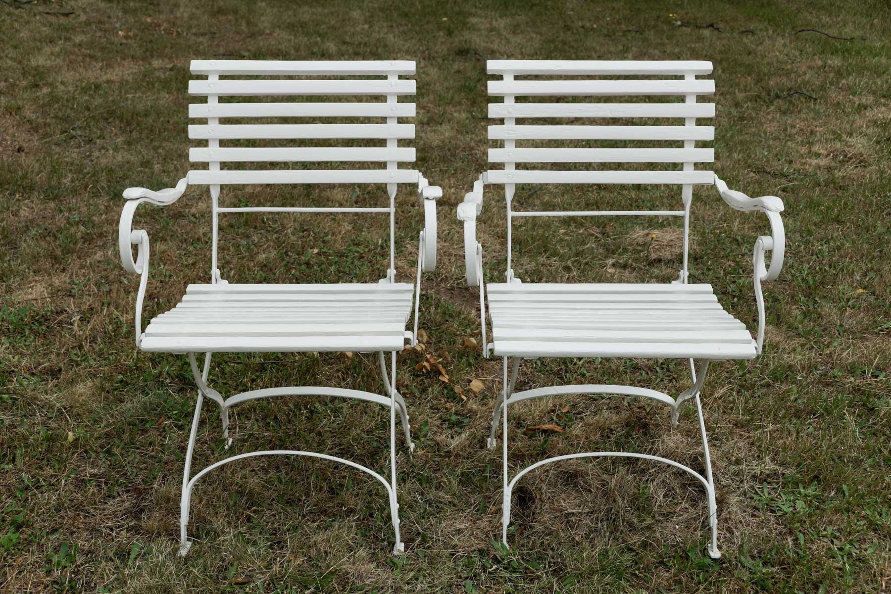German Wrought Iron Garden Chairs 1880s Set of 2 for sale at Pamono