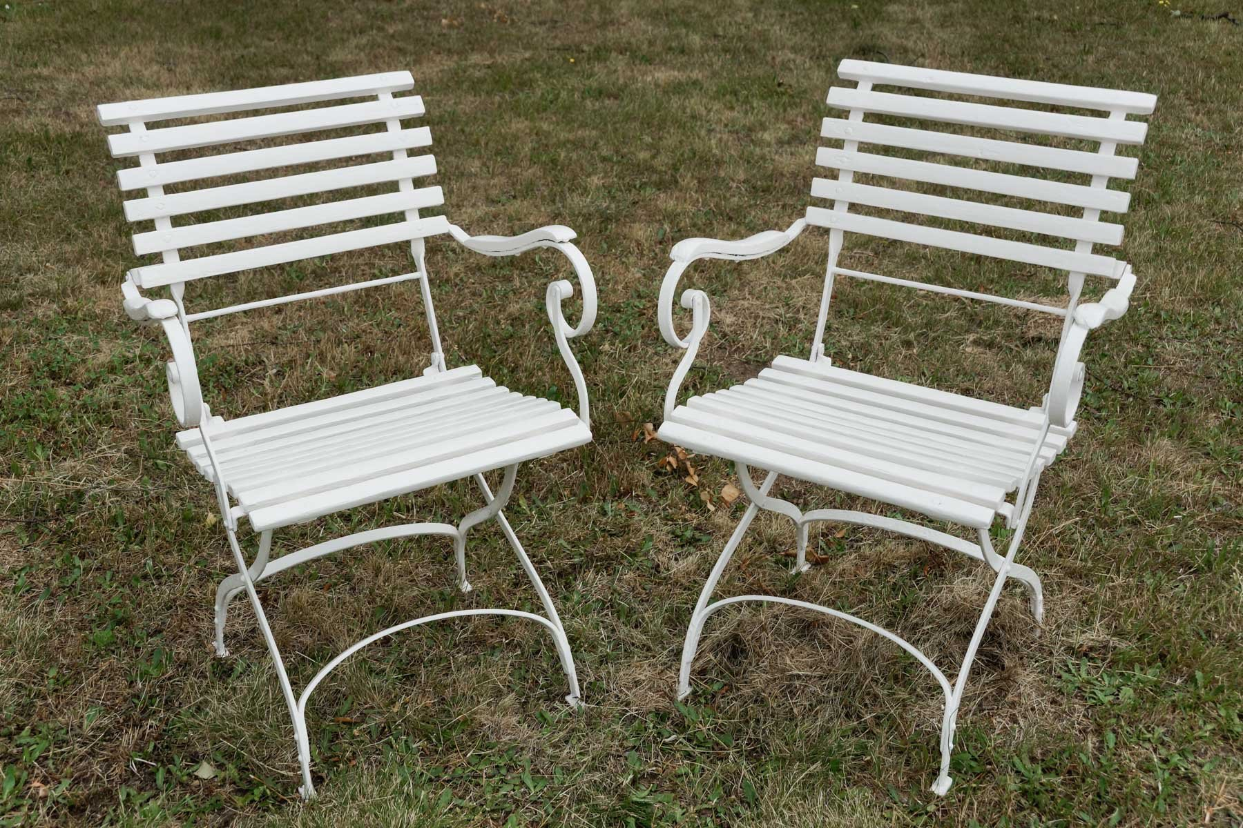 Wrought iron outdoor chairs - German Wrought Iron Garden Chairs 1880s Set Of 2