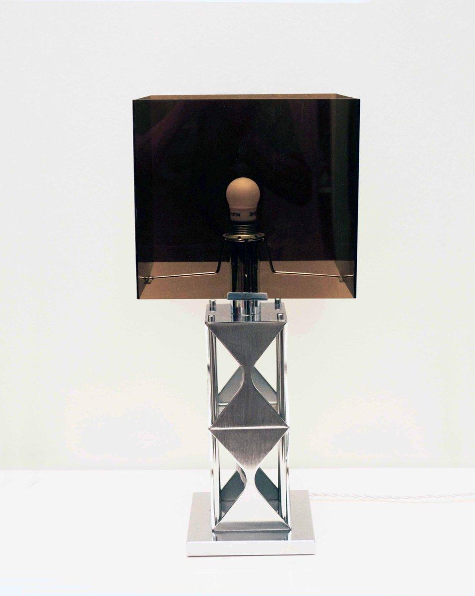lampe de bureau en plexiglas fum et acier satin 1970s en vente sur pamono. Black Bedroom Furniture Sets. Home Design Ideas