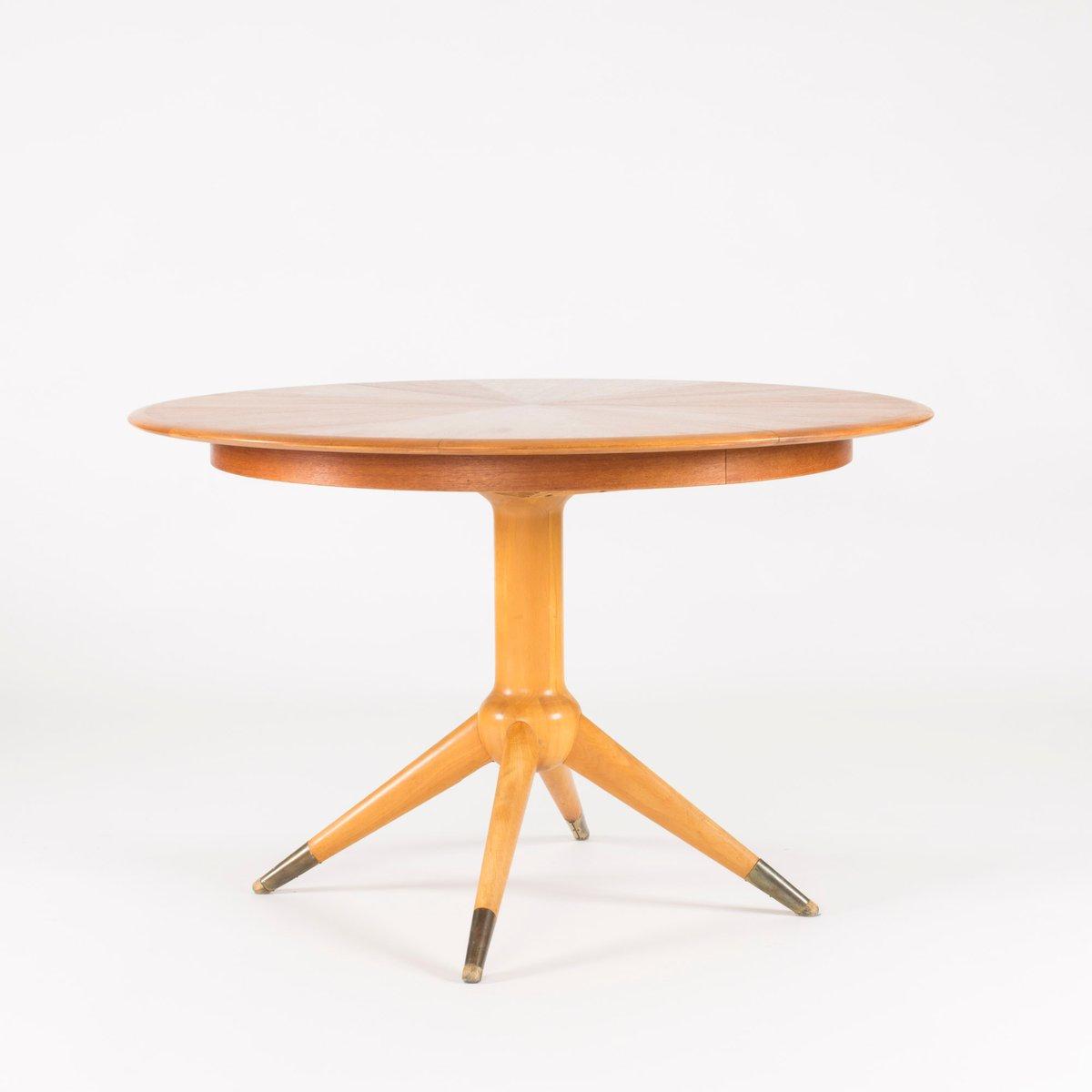 Round Teak Veneer Dining Table by David Ros233n for Nordiska  : round teak veneer dining table by david rosen for nordiska kompaniet 1950s 1 from www.pamono.co.uk size 1200 x 1200 jpeg 31kB