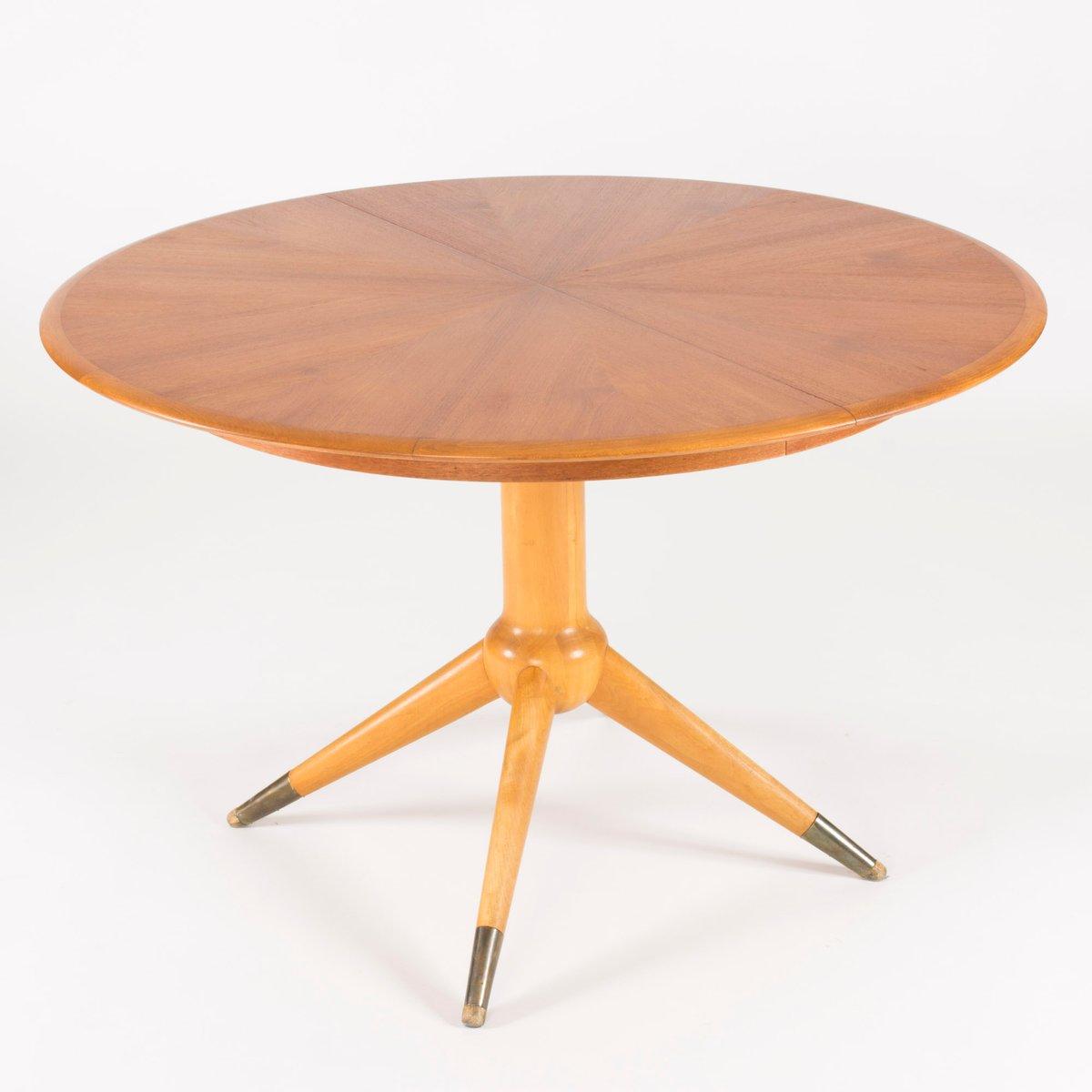 Round Teak Veneer Dining Table By David Ros N For Nordiska Kompaniet 1950s F