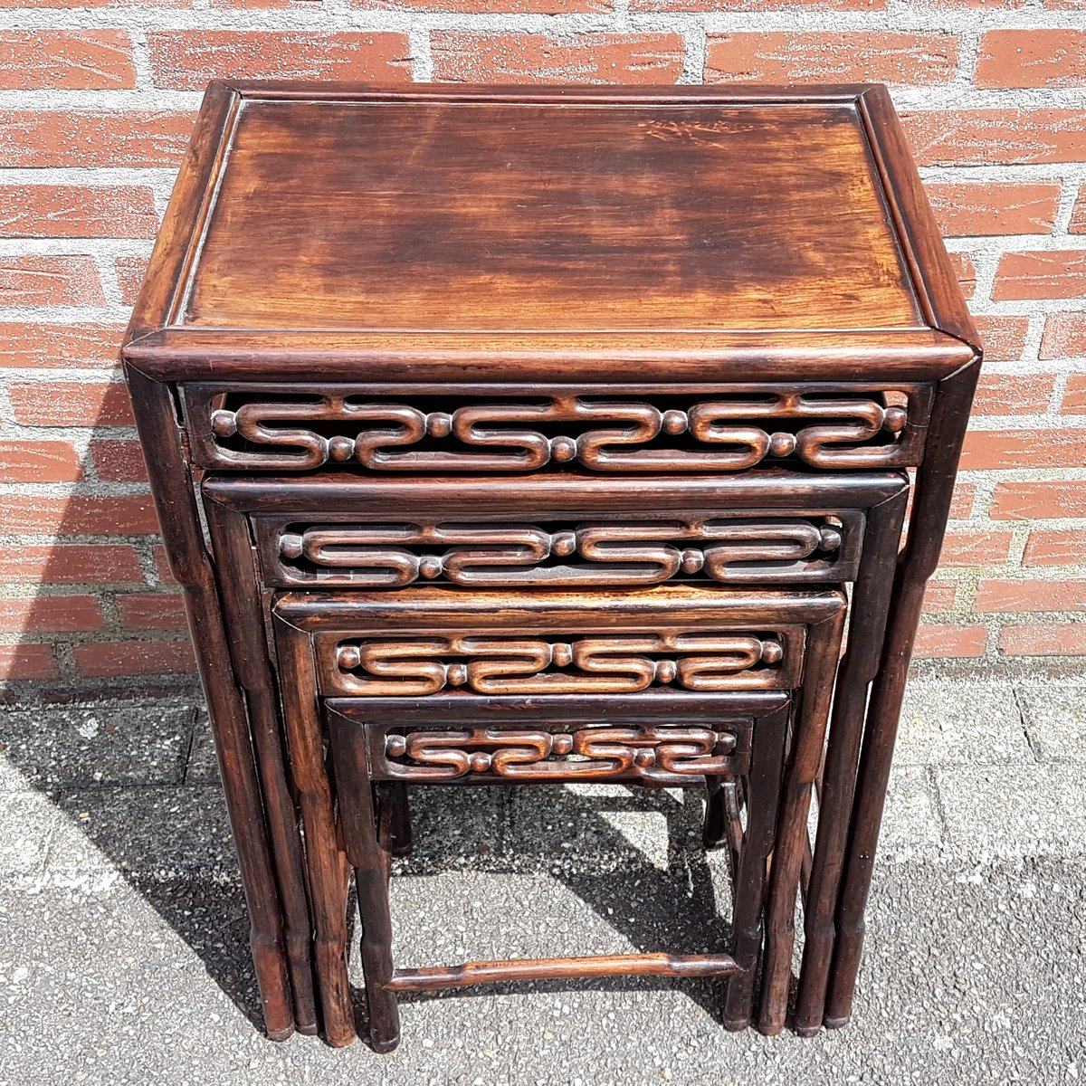 Antique Nesting Tables ~ Antique set of padouk nesting tables for sale at pamono