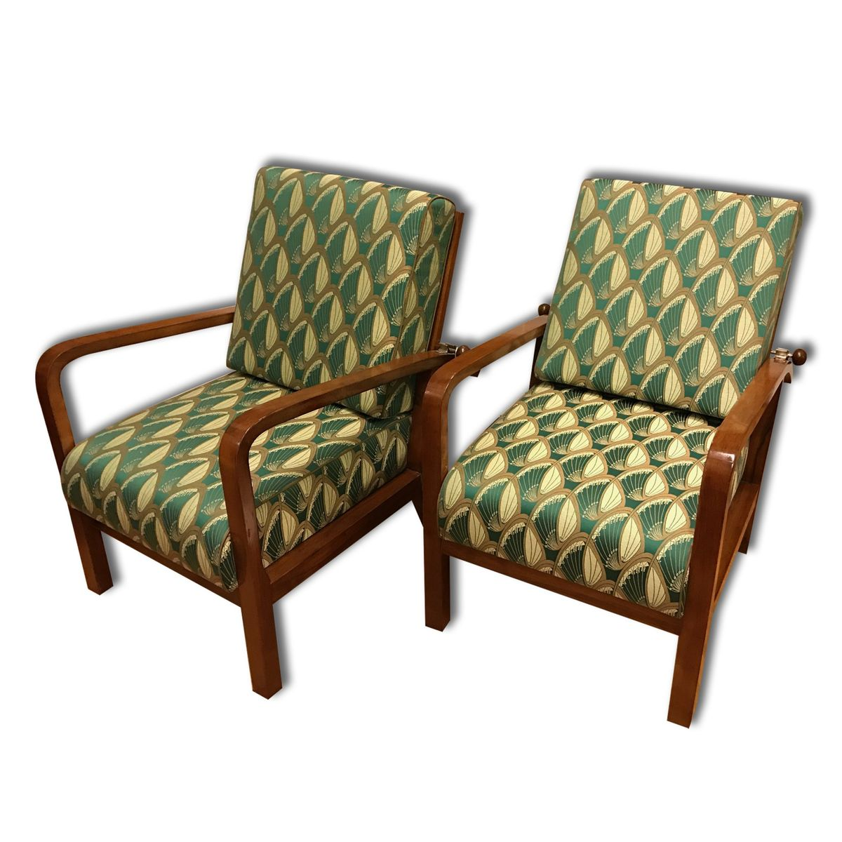 Art Deco Adjustable Beech Armchairs 1930s Set Of 2 For