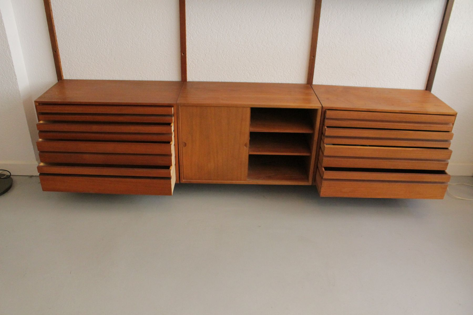 Teak Floating Wall Unit by Poul Cadovius for Cado 1960s