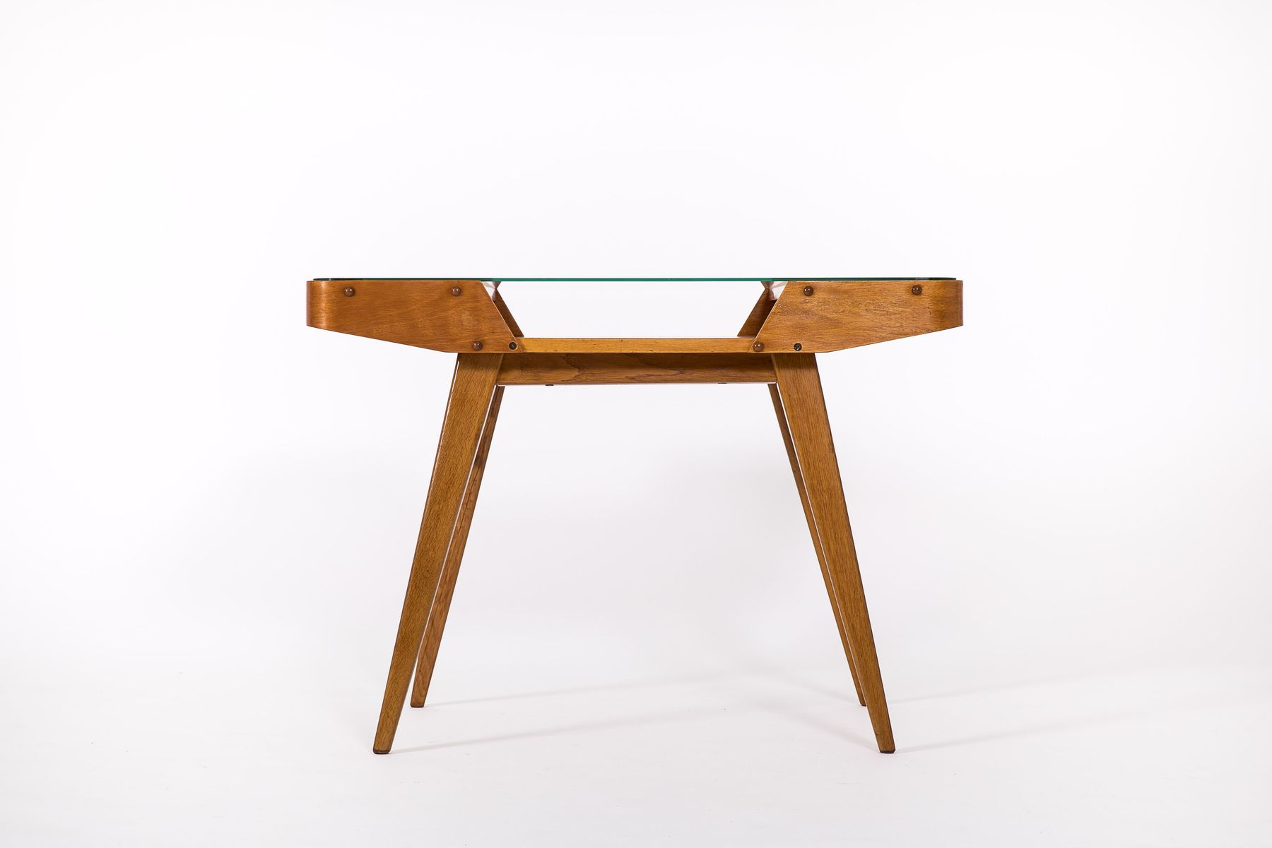 Mid Century Czech Glass Top Coffee Table from Interier Praha for