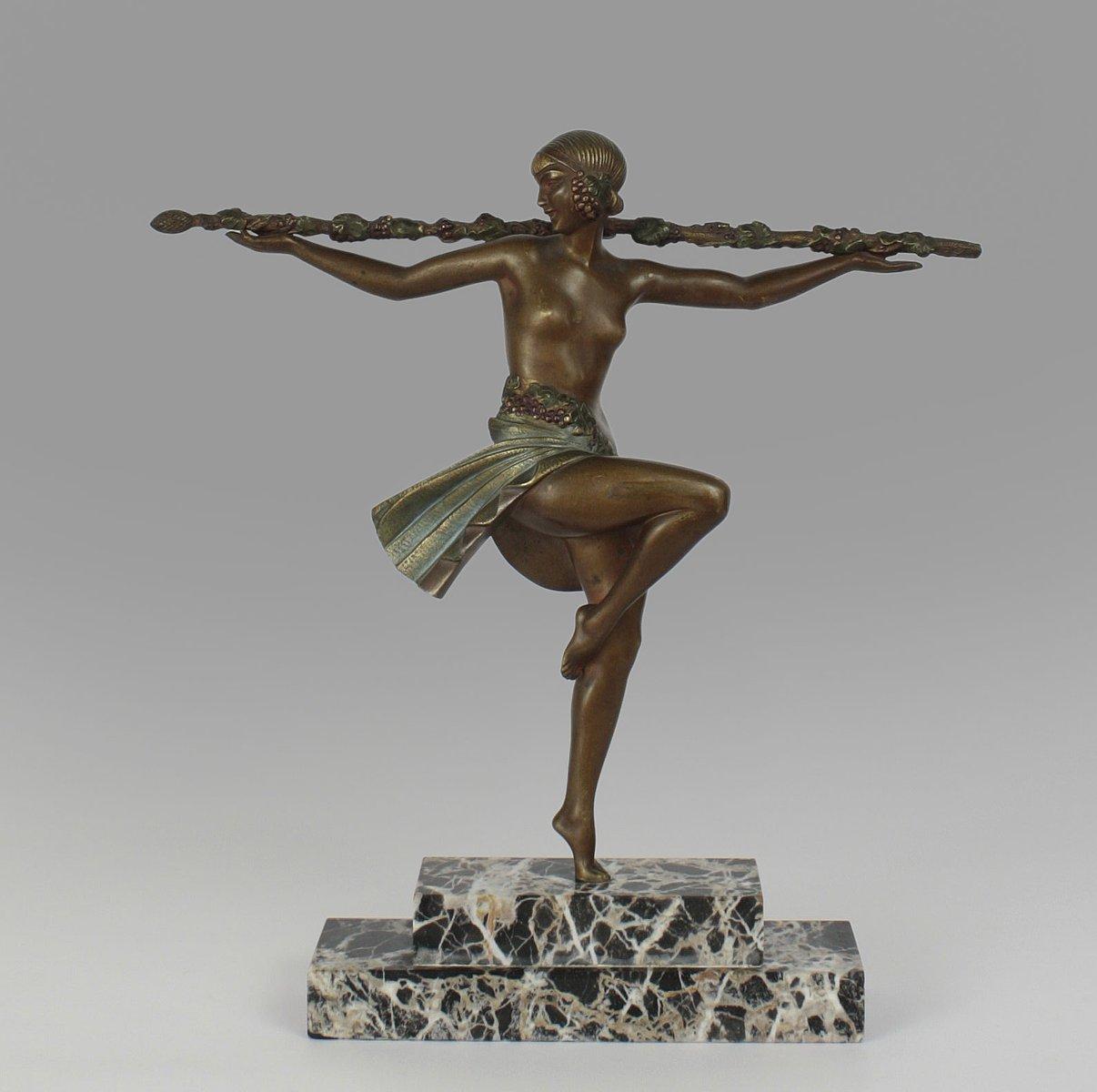 art deco danseuse au thyrse sculpture by pierre le faguays 1920s for sale at pamono. Black Bedroom Furniture Sets. Home Design Ideas