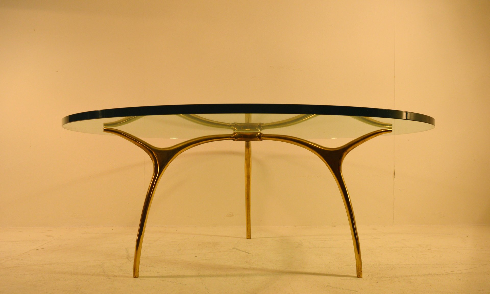 Bronze And Glass Coffee Table By Kouloufi For Ets Vanderborght Fr Res 1958