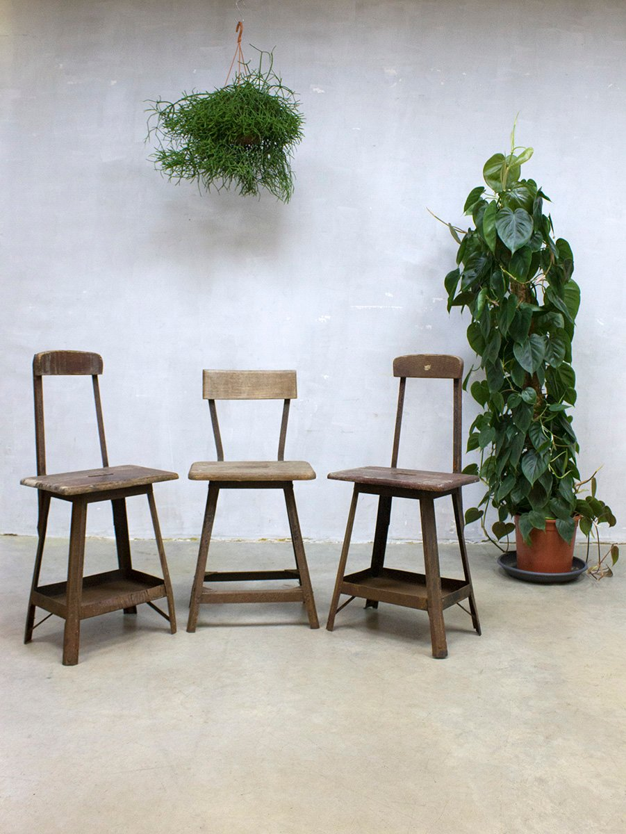 vintage industrial bar stools 1930s set of 3