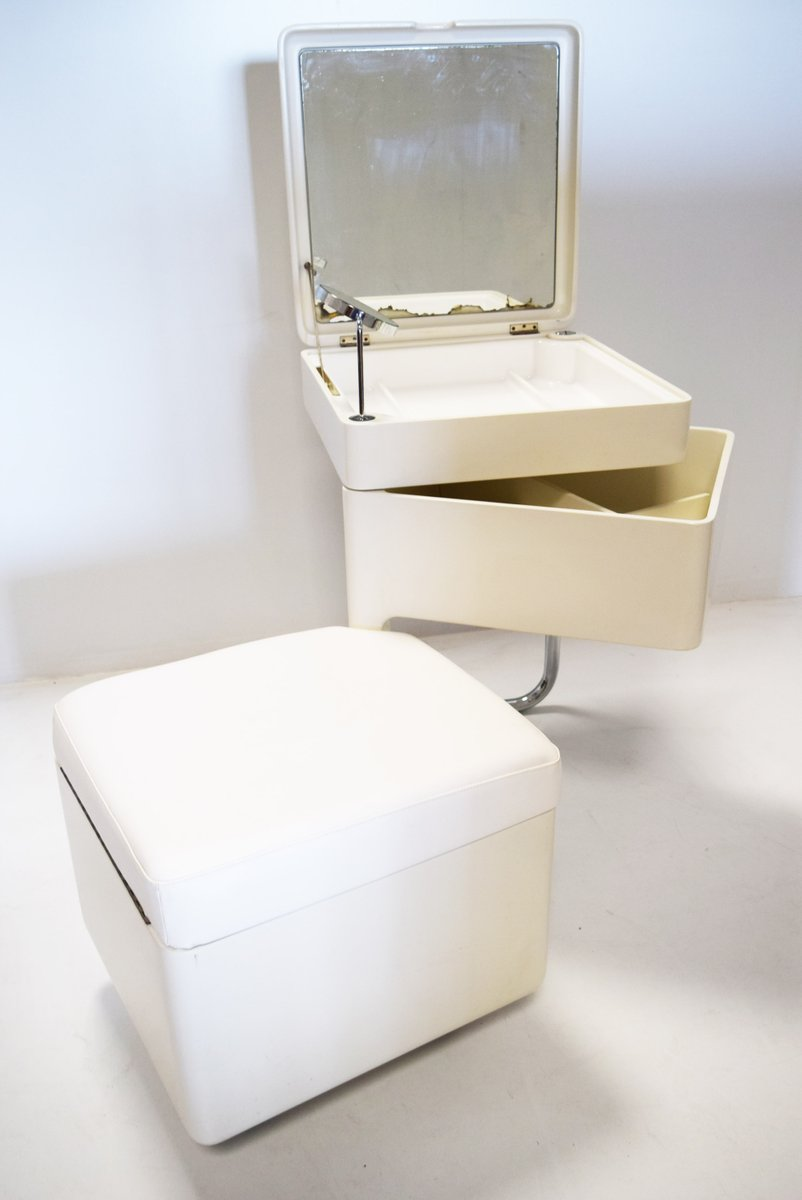 Foldable Makeup Table With Mirror U0026 Stool, 1970s