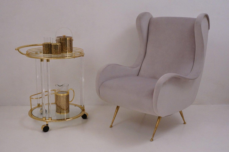vergoldeter italienischer vintage servierwagen aus glas von orsenigo bei pamono kaufen. Black Bedroom Furniture Sets. Home Design Ideas