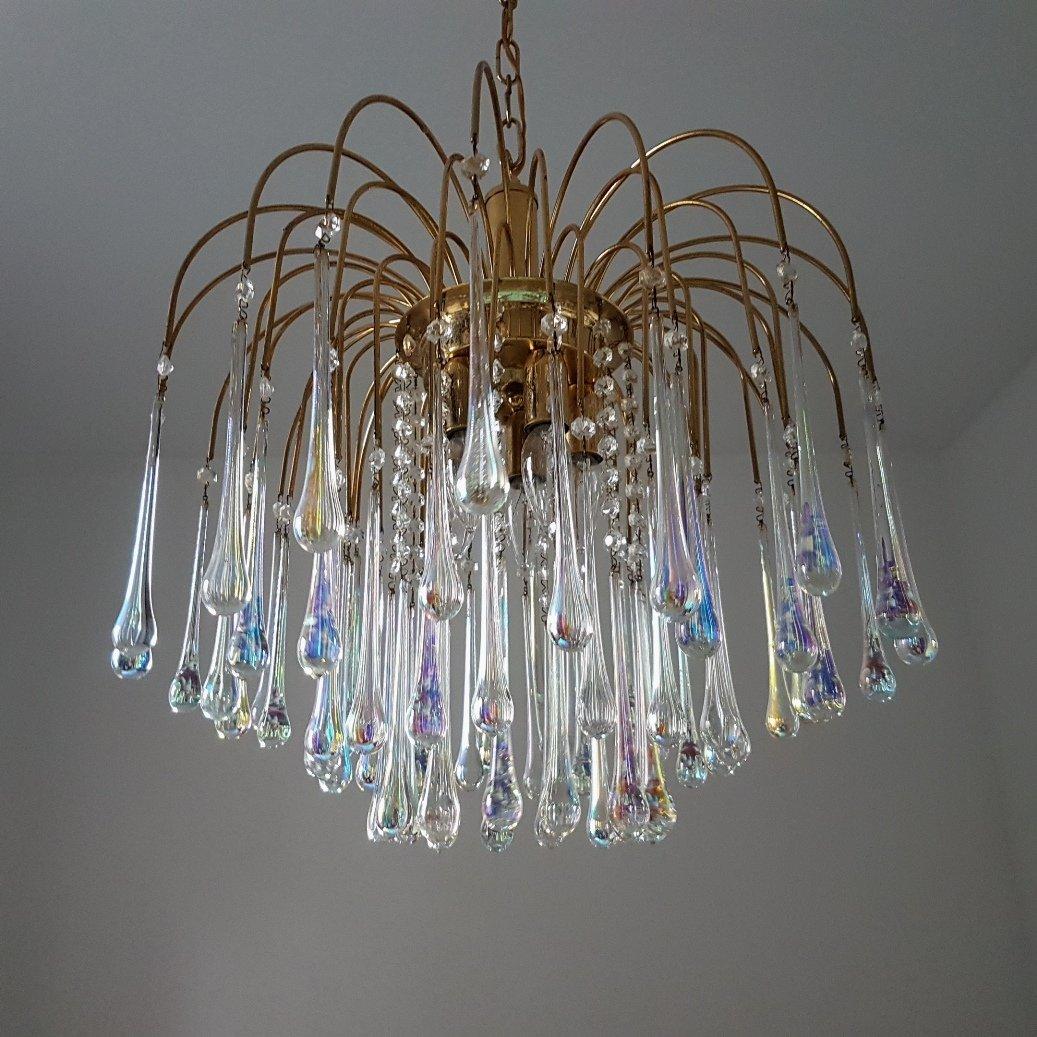 Murano Glass Amp Brass Teardrops Chandelier By Paolo Venini