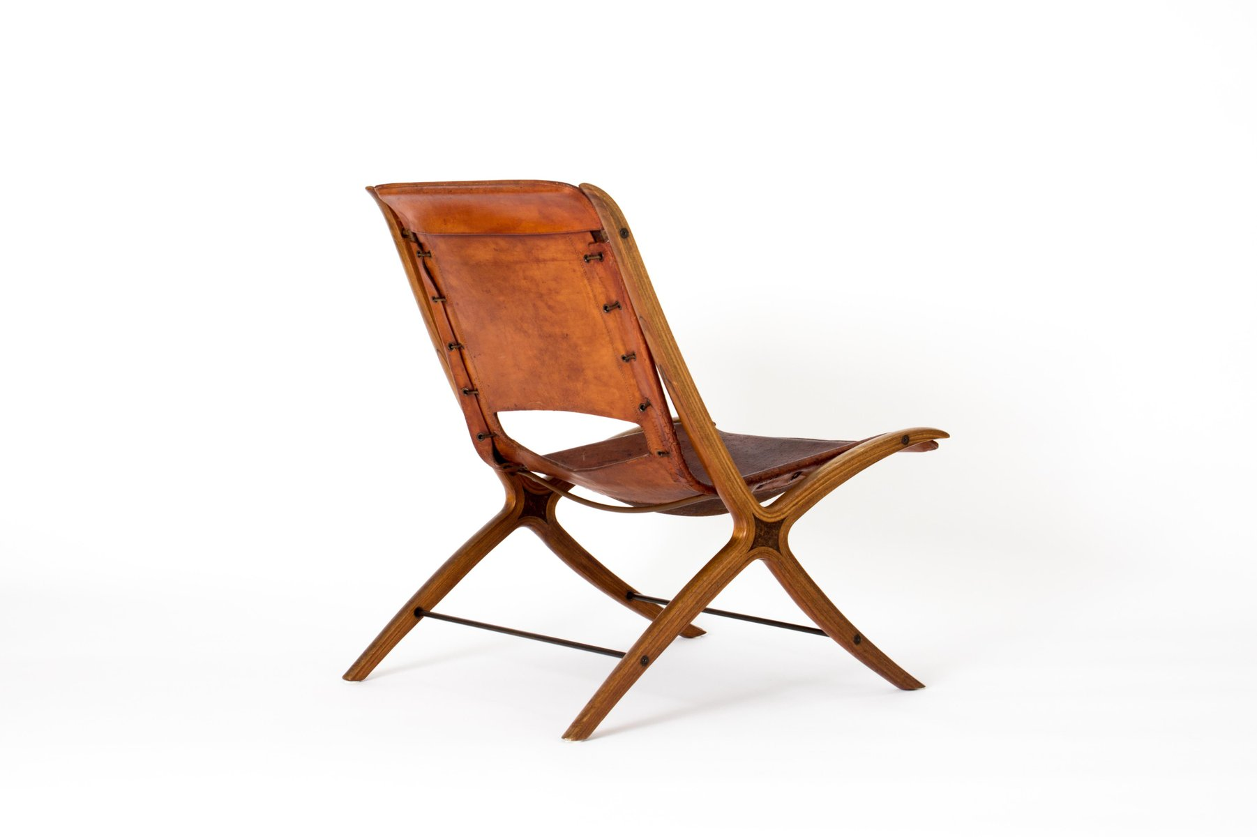 Mid Century Danish X Chair in Cognac Leather by Peter Hvidt & Orla