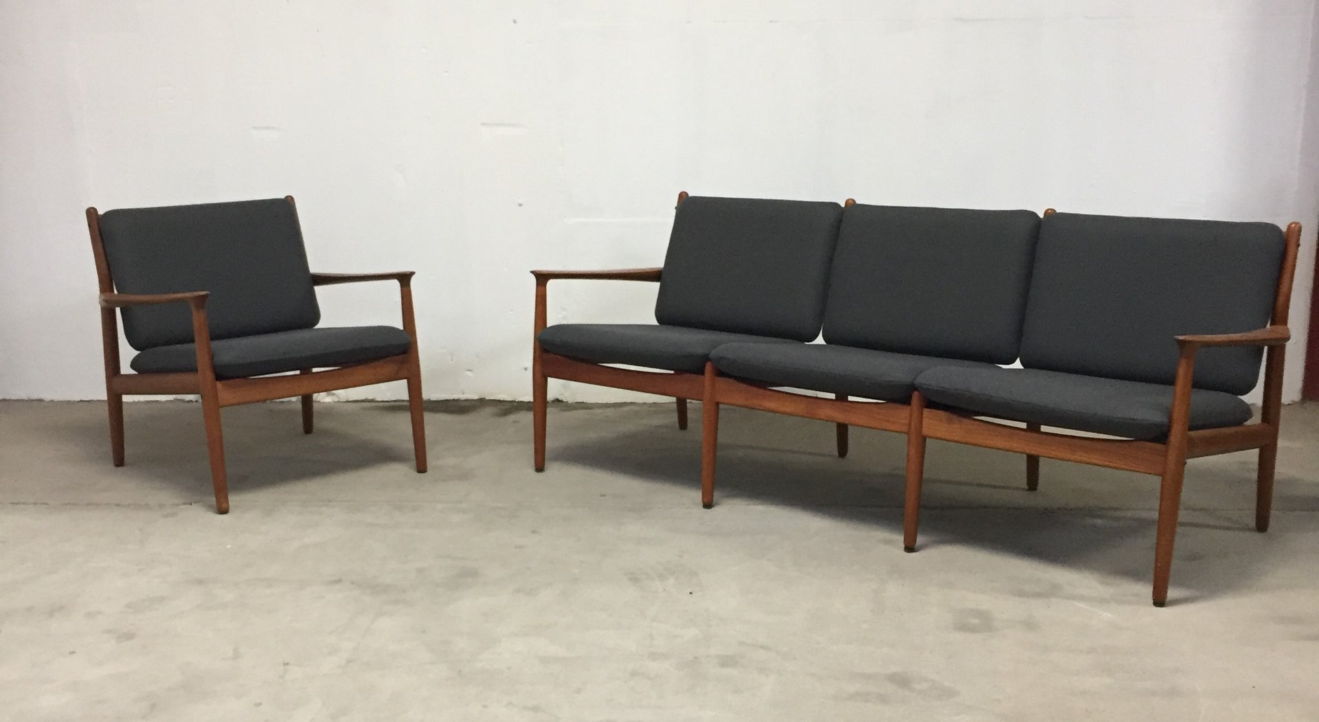 Mid Century Danish Sofa and Armchair by Grete Jalk for Glostrup